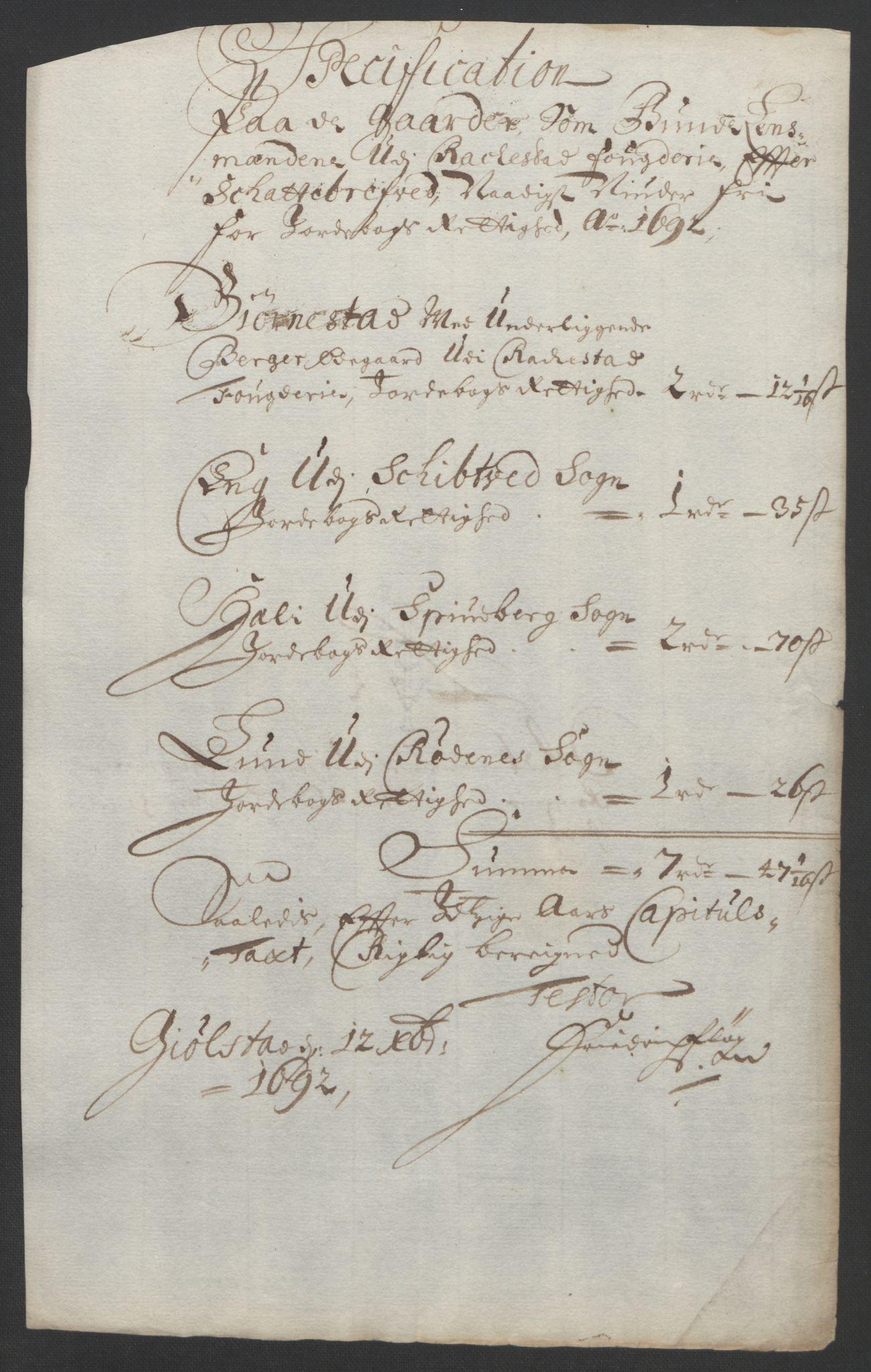 RA, Rentekammeret inntil 1814, Reviderte regnskaper, Fogderegnskap, R05/L0278: Fogderegnskap Rakkestad, 1691-1693, s. 338