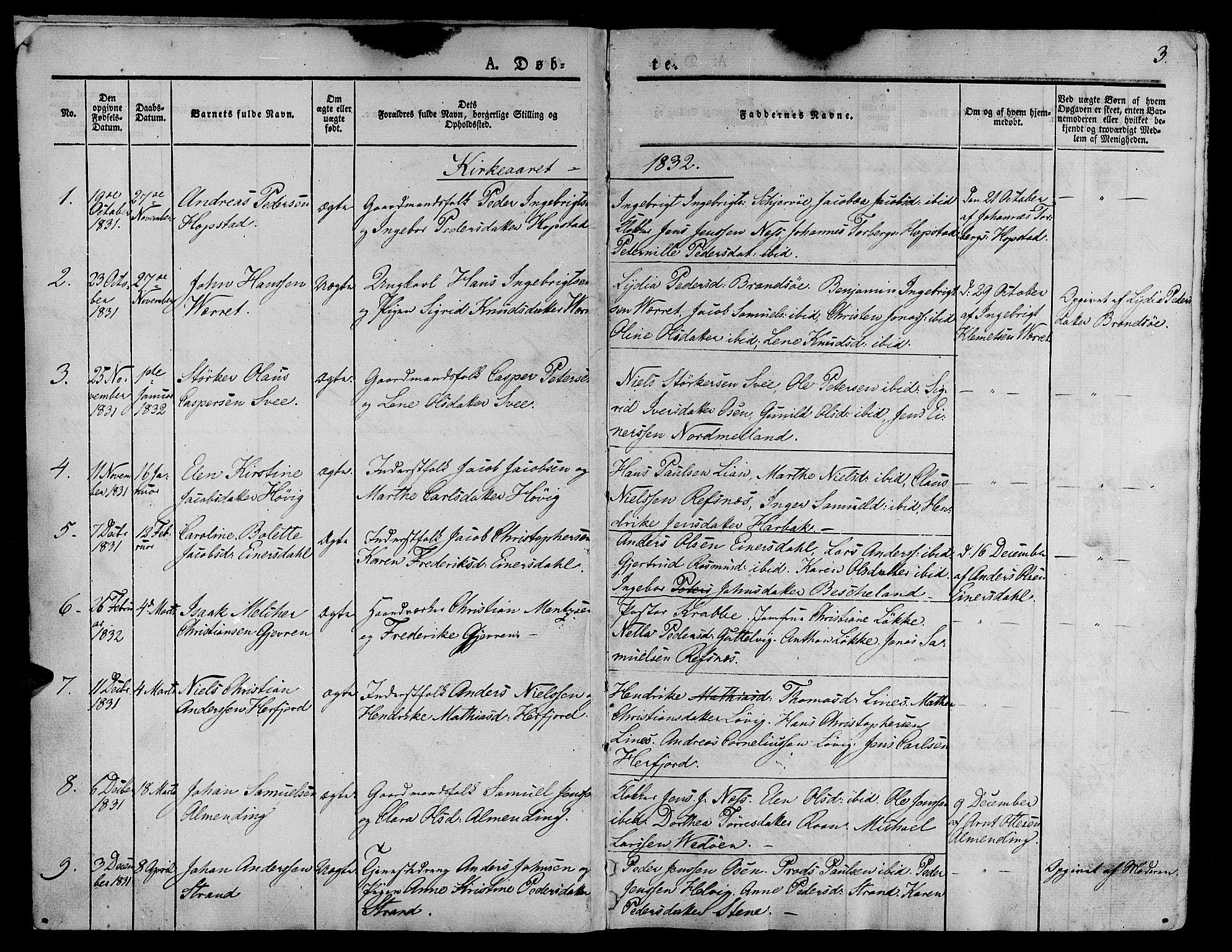 SAT, Ministerialprotokoller, klokkerbøker og fødselsregistre - Sør-Trøndelag, 657/L0703: Ministerialbok nr. 657A04, 1831-1846, s. 3