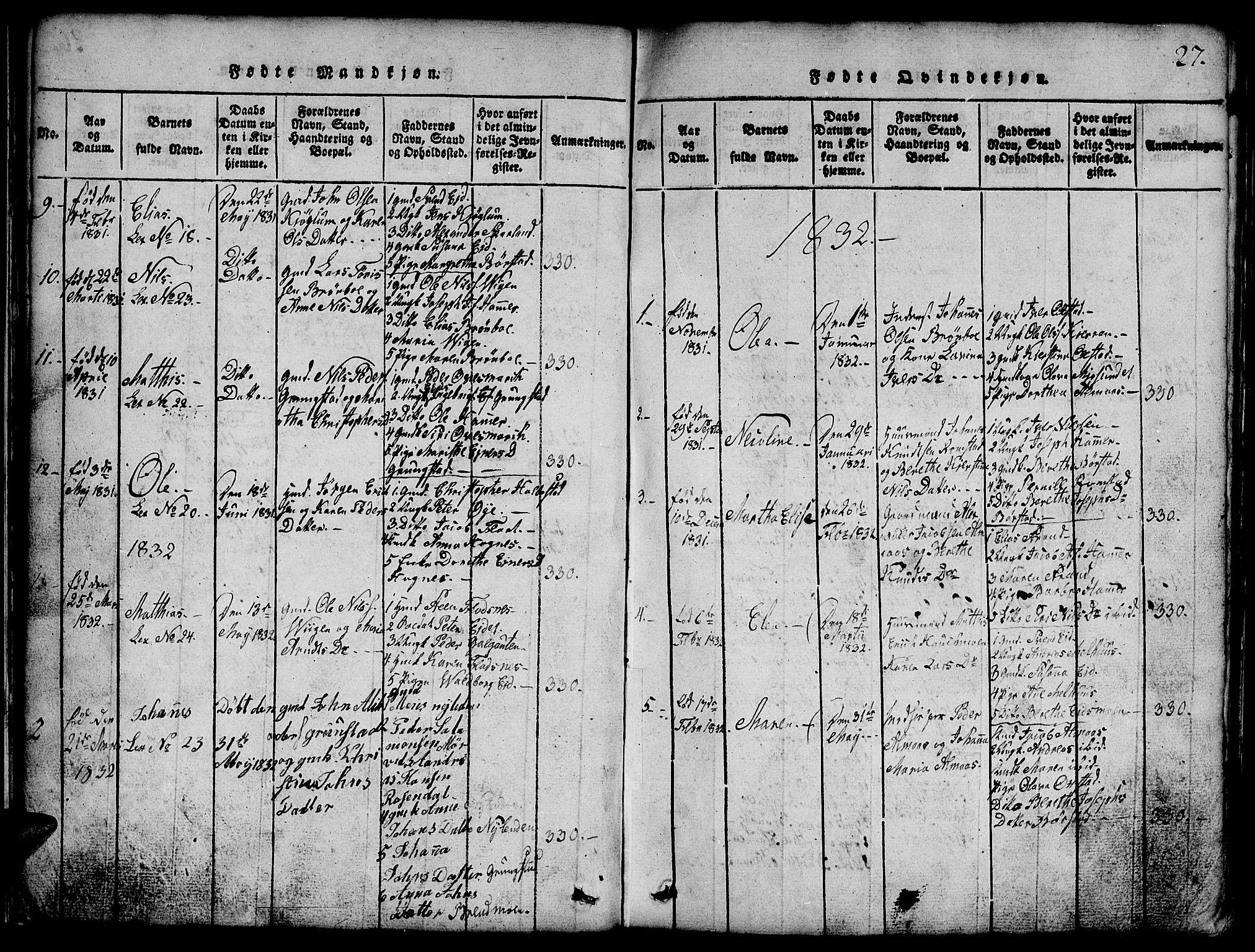 SAT, Ministerialprotokoller, klokkerbøker og fødselsregistre - Nord-Trøndelag, 765/L0562: Klokkerbok nr. 765C01, 1817-1851, s. 27