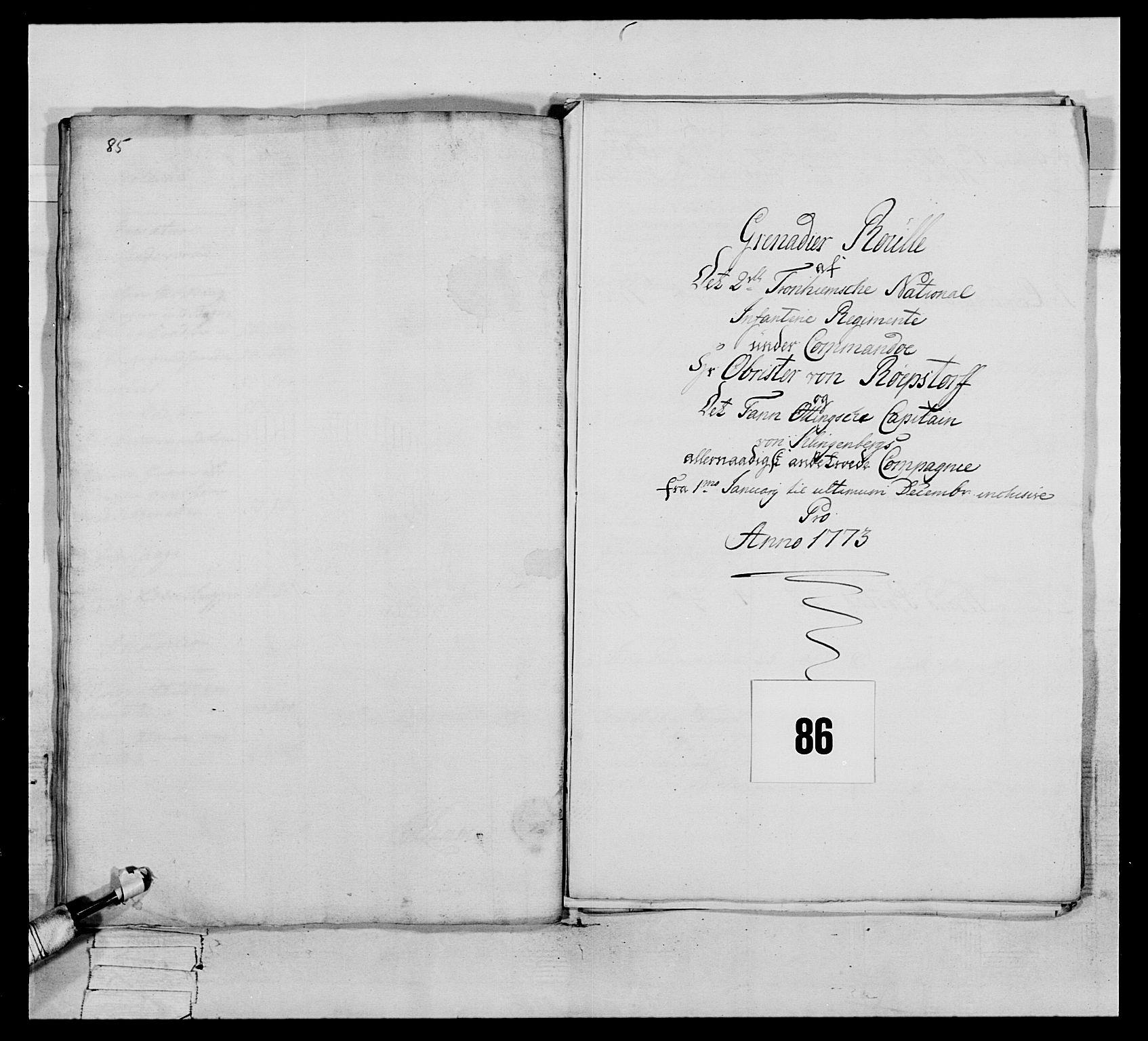 RA, Generalitets- og kommissariatskollegiet, Det kongelige norske kommissariatskollegium, E/Eh/L0076: 2. Trondheimske nasjonale infanteriregiment, 1766-1773, s. 489
