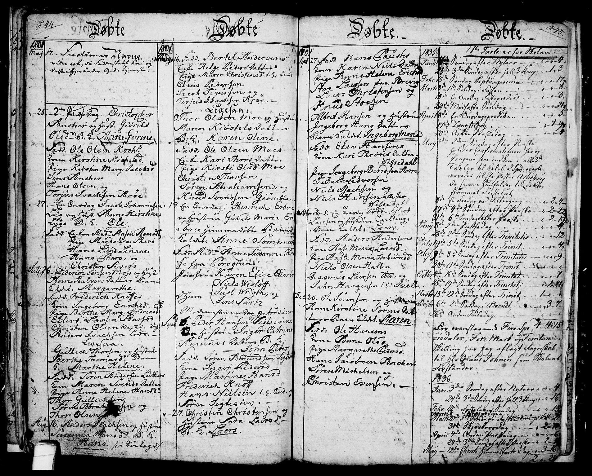 SAKO, Langesund kirkebøker, G/Ga/L0001: Klokkerbok nr. 1, 1783-1801, s. 44-45