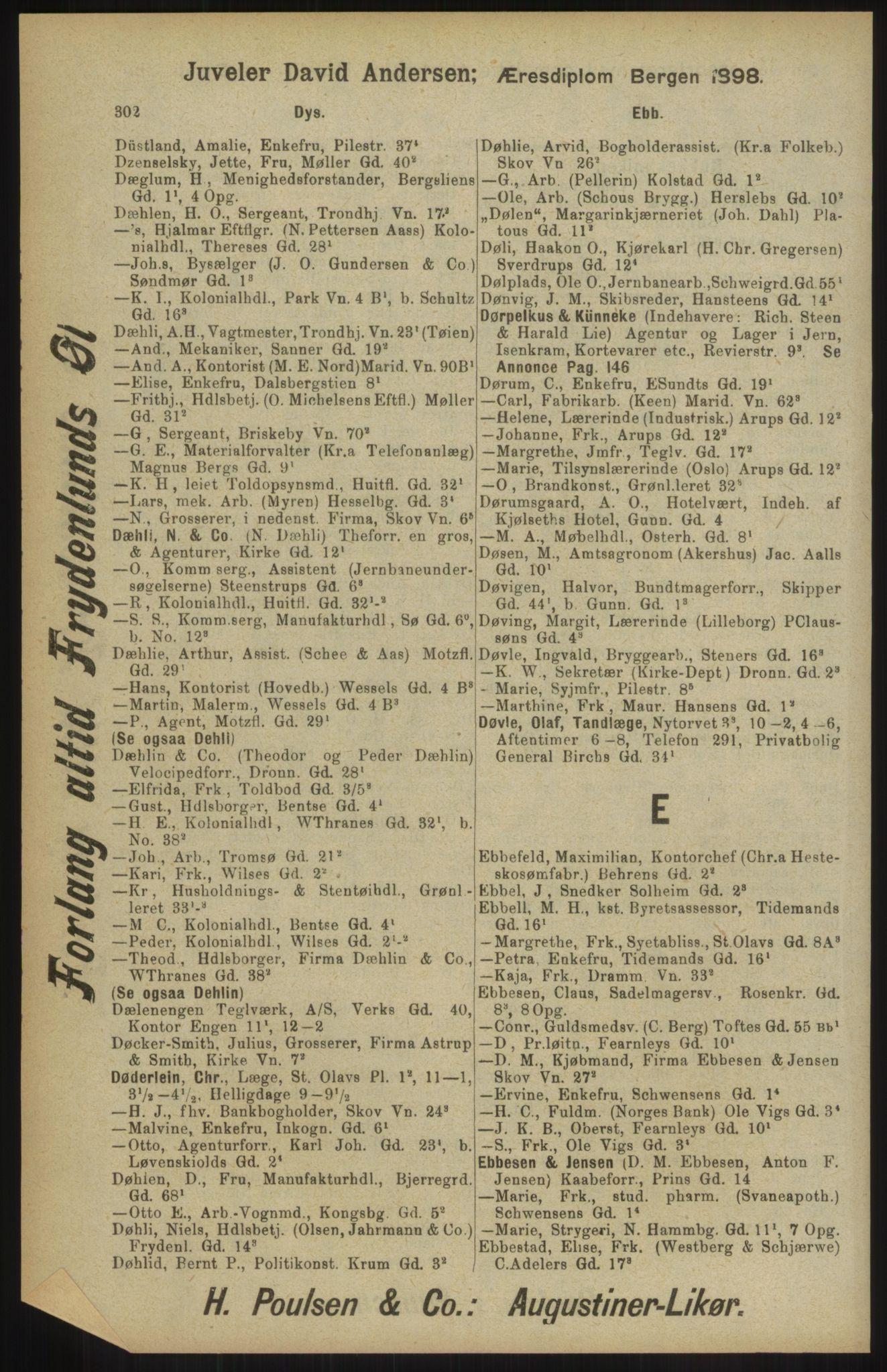 RA, Kristiania adressebok (publikasjon)*, 1904, s. 302