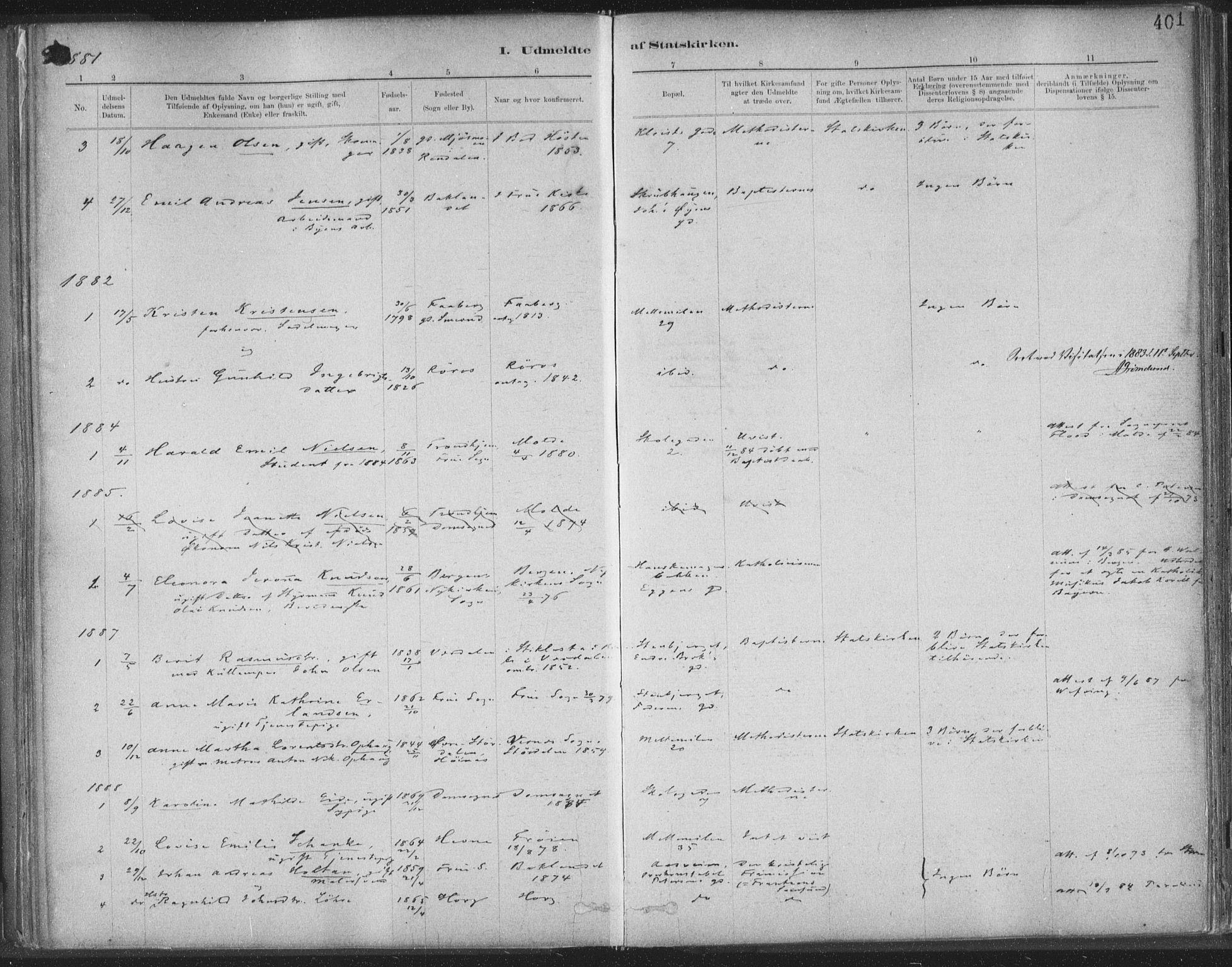 SAT, Ministerialprotokoller, klokkerbøker og fødselsregistre - Sør-Trøndelag, 603/L0163: Ministerialbok nr. 603A02, 1879-1895, s. 401