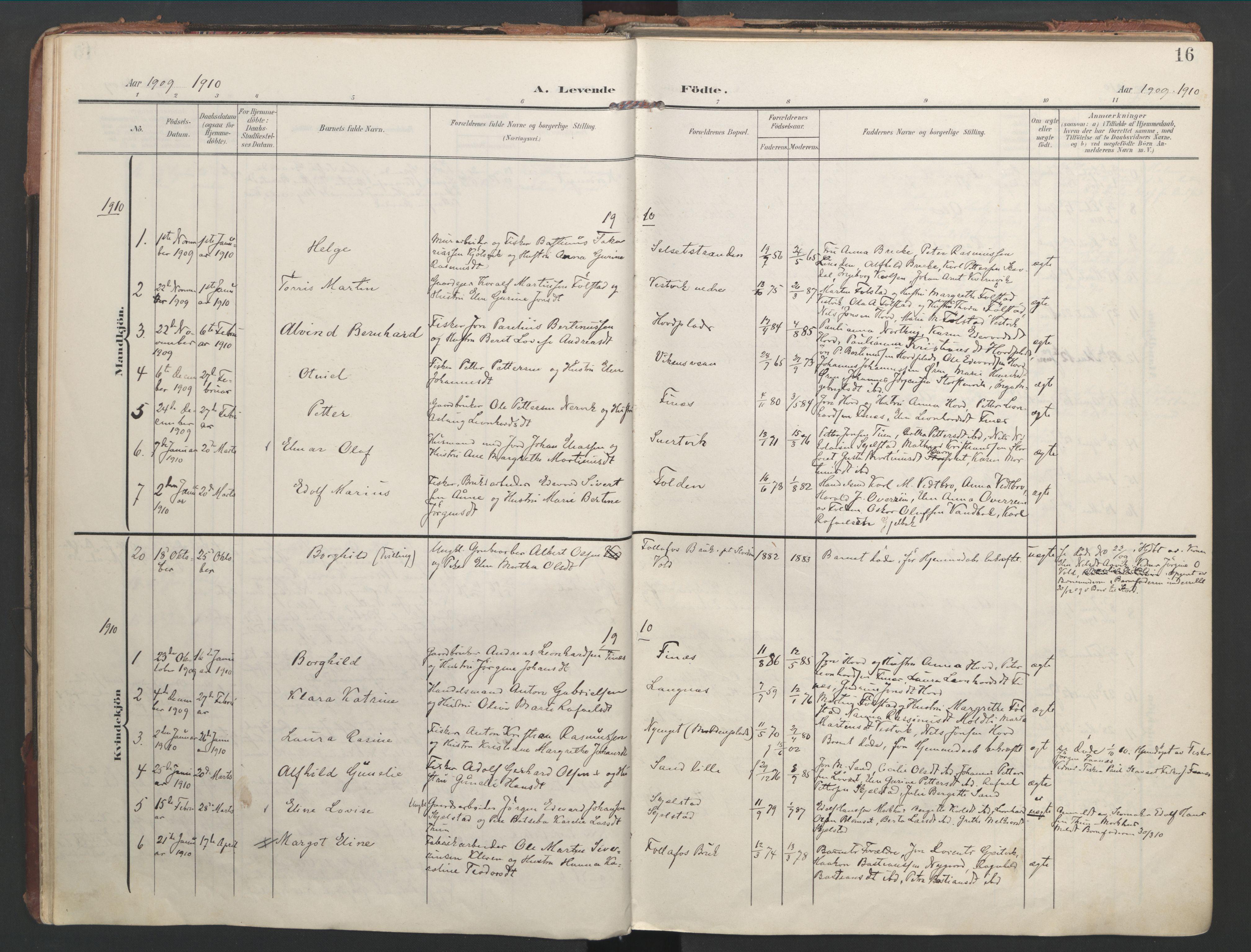 SAT, Ministerialprotokoller, klokkerbøker og fødselsregistre - Nord-Trøndelag, 744/L0421: Ministerialbok nr. 744A05, 1905-1930, s. 16