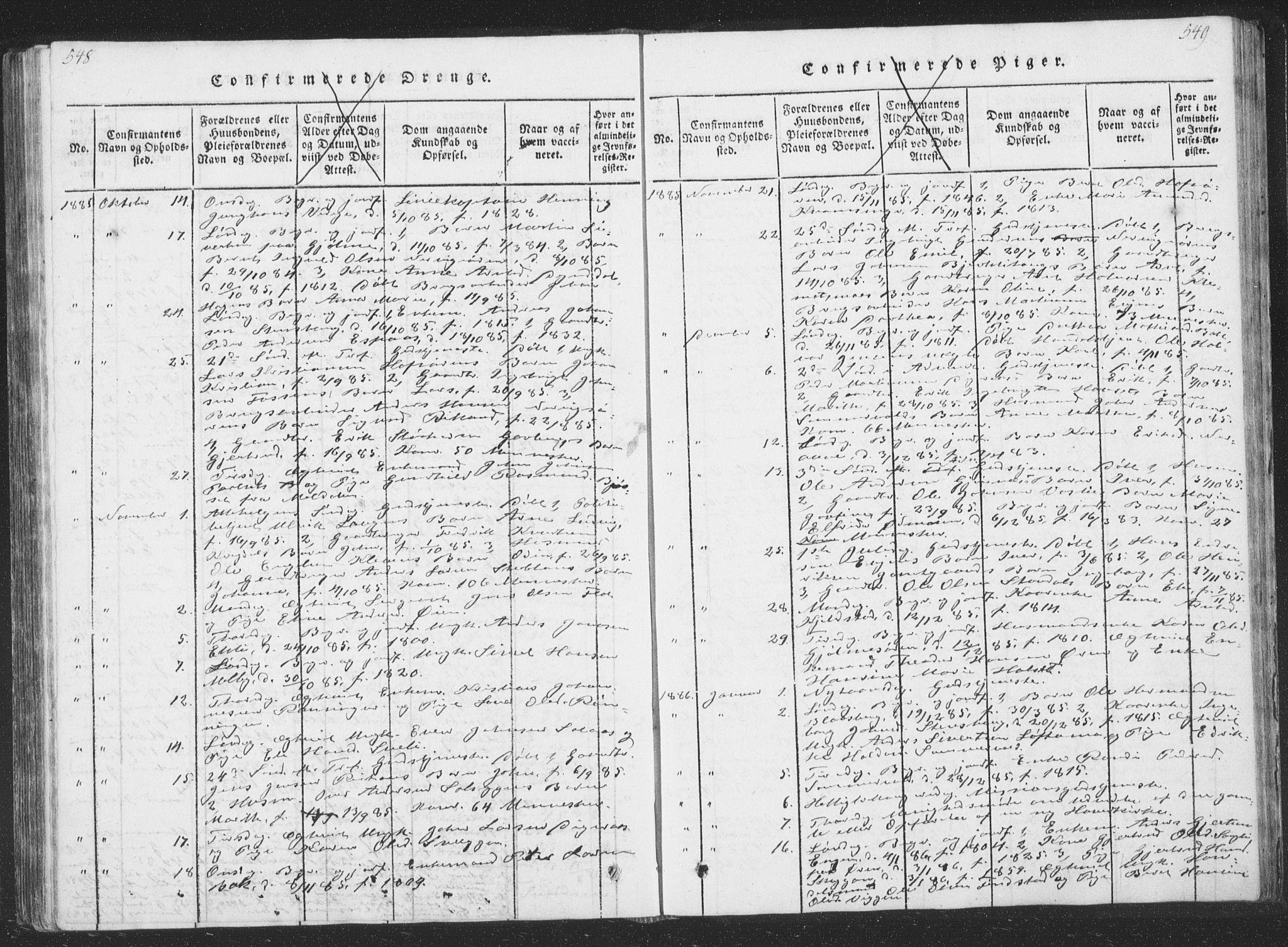 SAT, Ministerialprotokoller, klokkerbøker og fødselsregistre - Sør-Trøndelag, 668/L0816: Klokkerbok nr. 668C05, 1816-1893, s. 548-549
