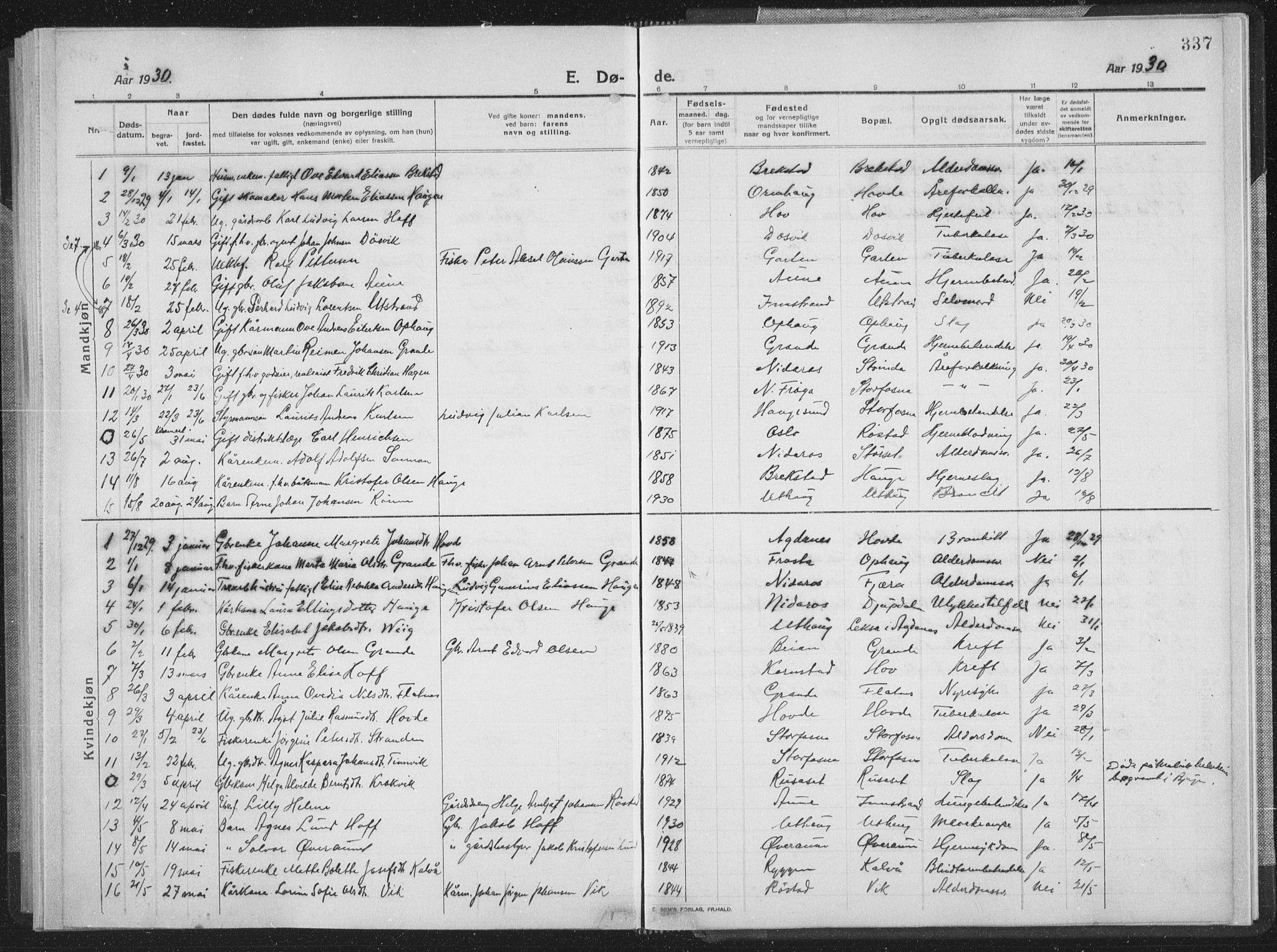 SAT, Ministerialprotokoller, klokkerbøker og fødselsregistre - Sør-Trøndelag, 659/L0747: Klokkerbok nr. 659C04, 1913-1938, s. 337