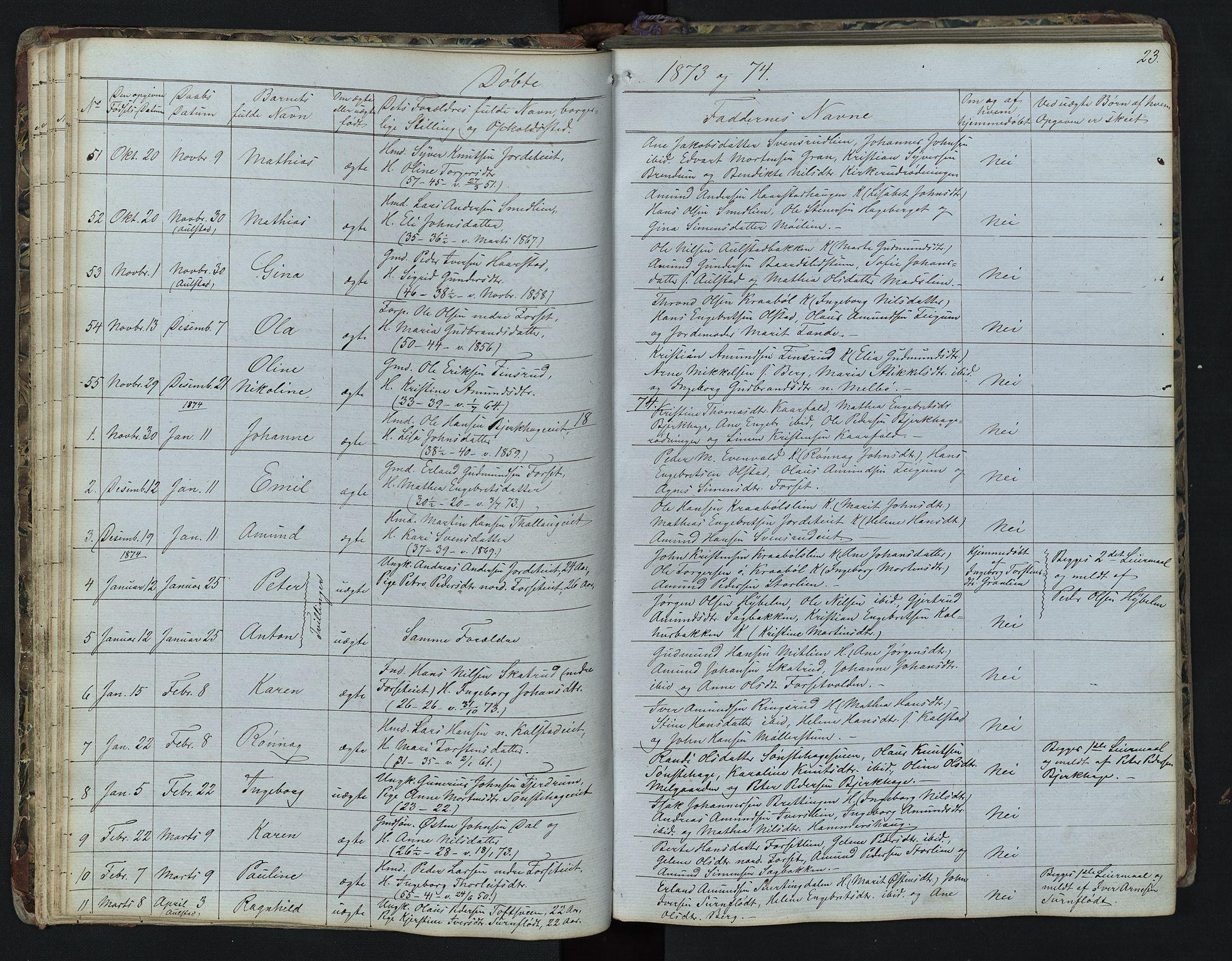 SAH, Vestre Gausdal prestekontor, Klokkerbok nr. 1, 1867-1895, s. 23