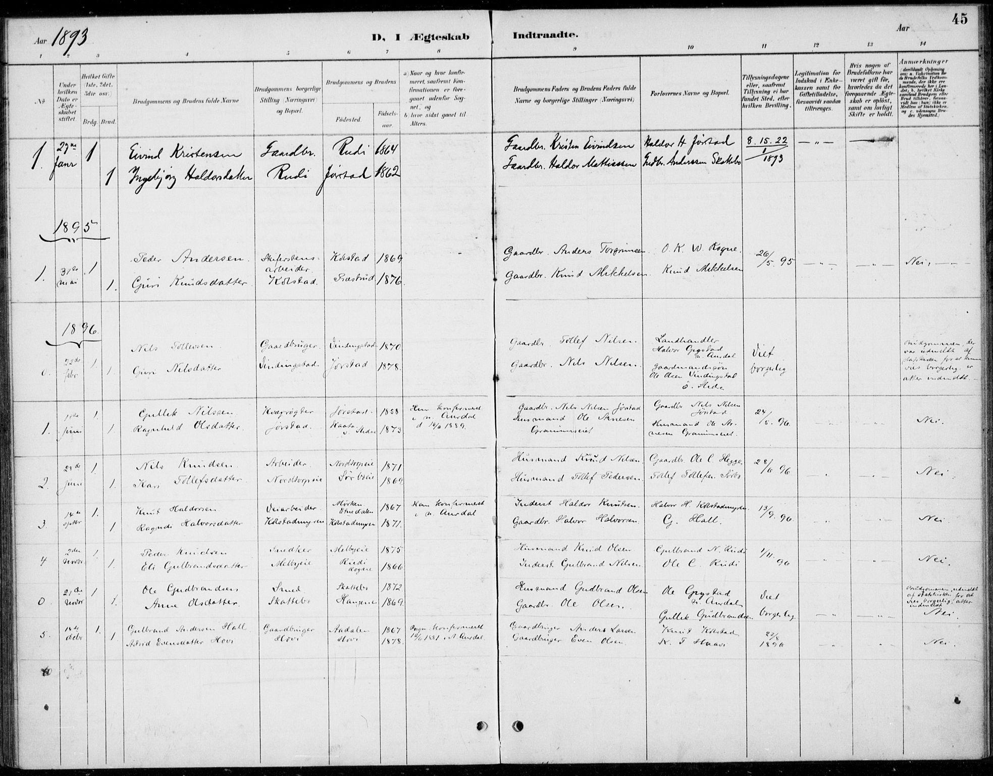 SAH, Øystre Slidre prestekontor, Ministerialbok nr. 5, 1887-1916, s. 45