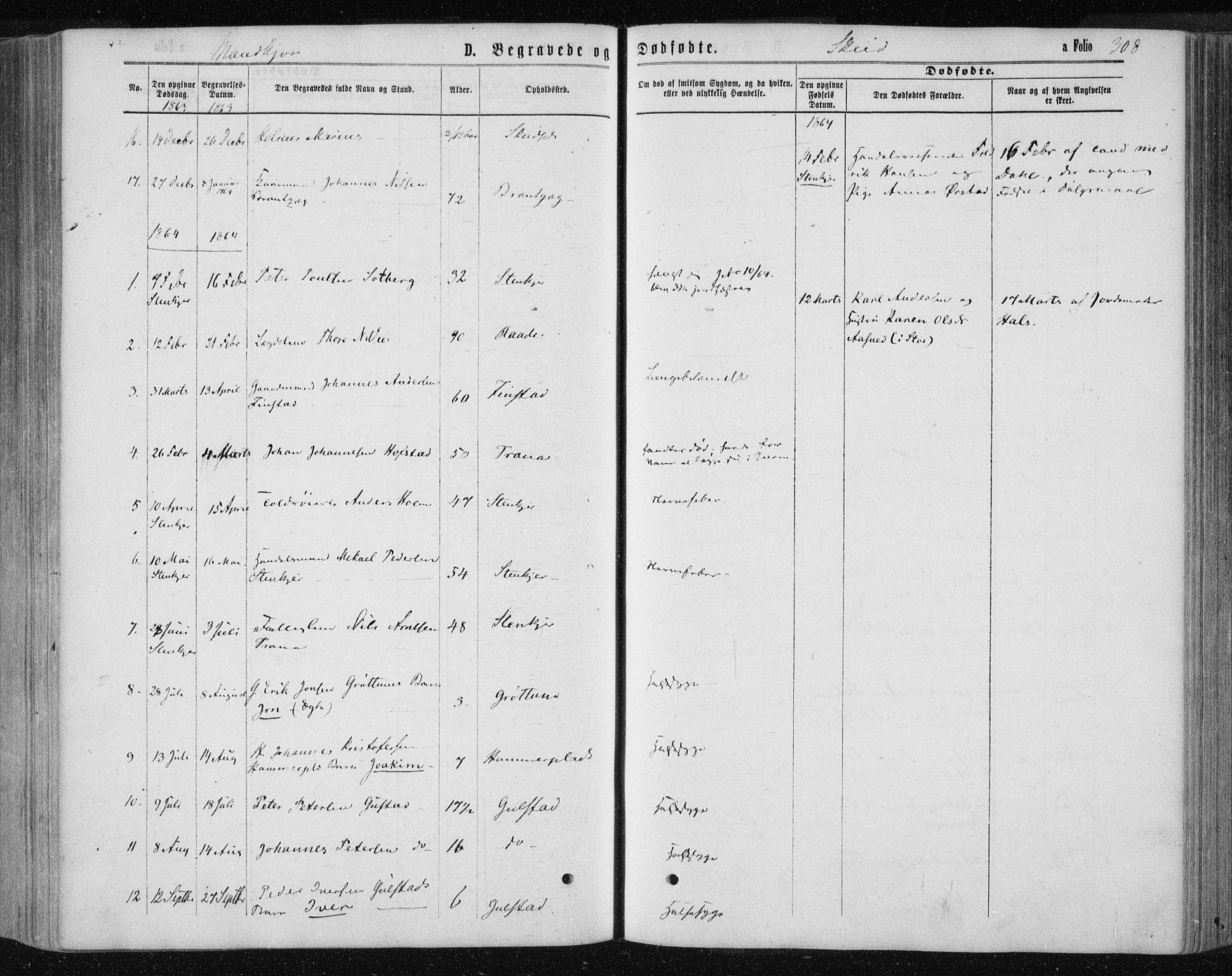 SAT, Ministerialprotokoller, klokkerbøker og fødselsregistre - Nord-Trøndelag, 735/L0345: Ministerialbok nr. 735A08 /2, 1863-1872, s. 308