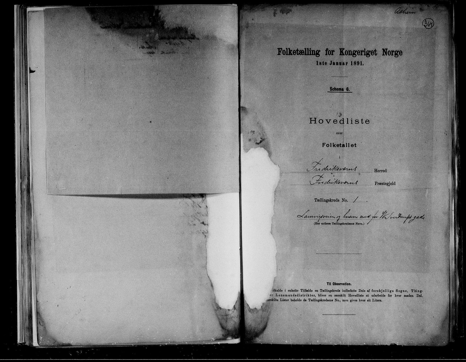 RA, Folketelling 1891 for 0798 Fredriksvern herred, 1891, s. 5