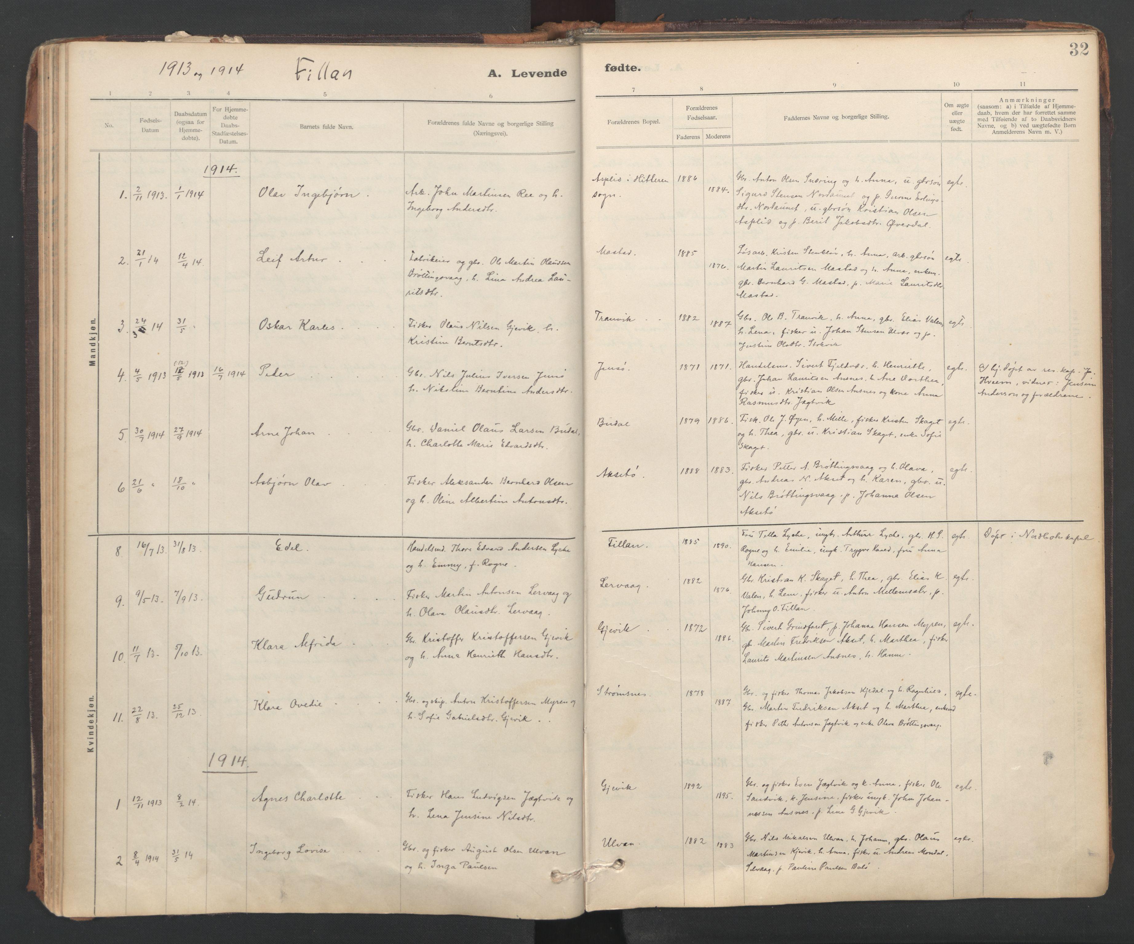 SAT, Ministerialprotokoller, klokkerbøker og fødselsregistre - Sør-Trøndelag, 637/L0559: Ministerialbok nr. 637A02, 1899-1923, s. 32