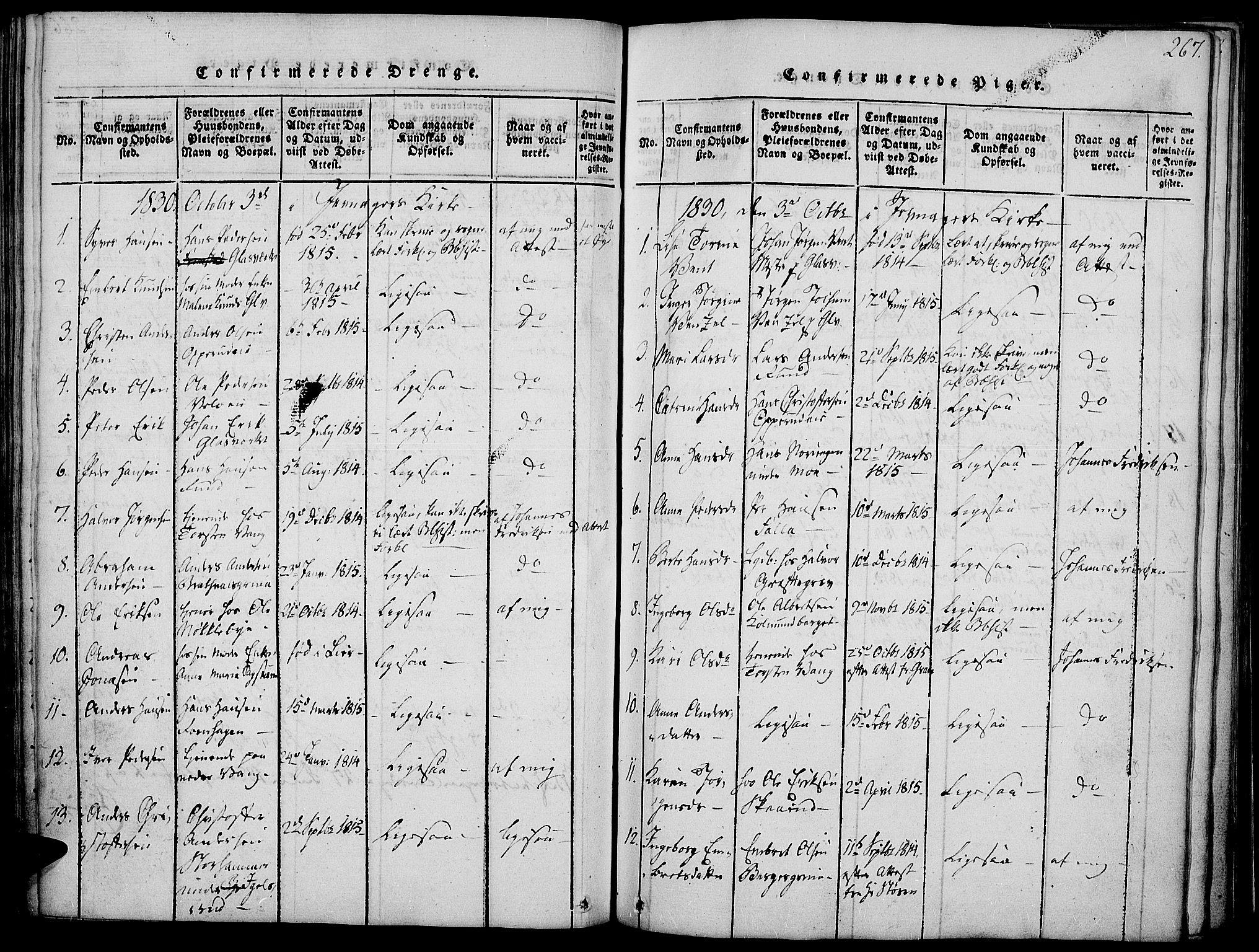 SAH, Jevnaker prestekontor, Ministerialbok nr. 5, 1815-1837, s. 267