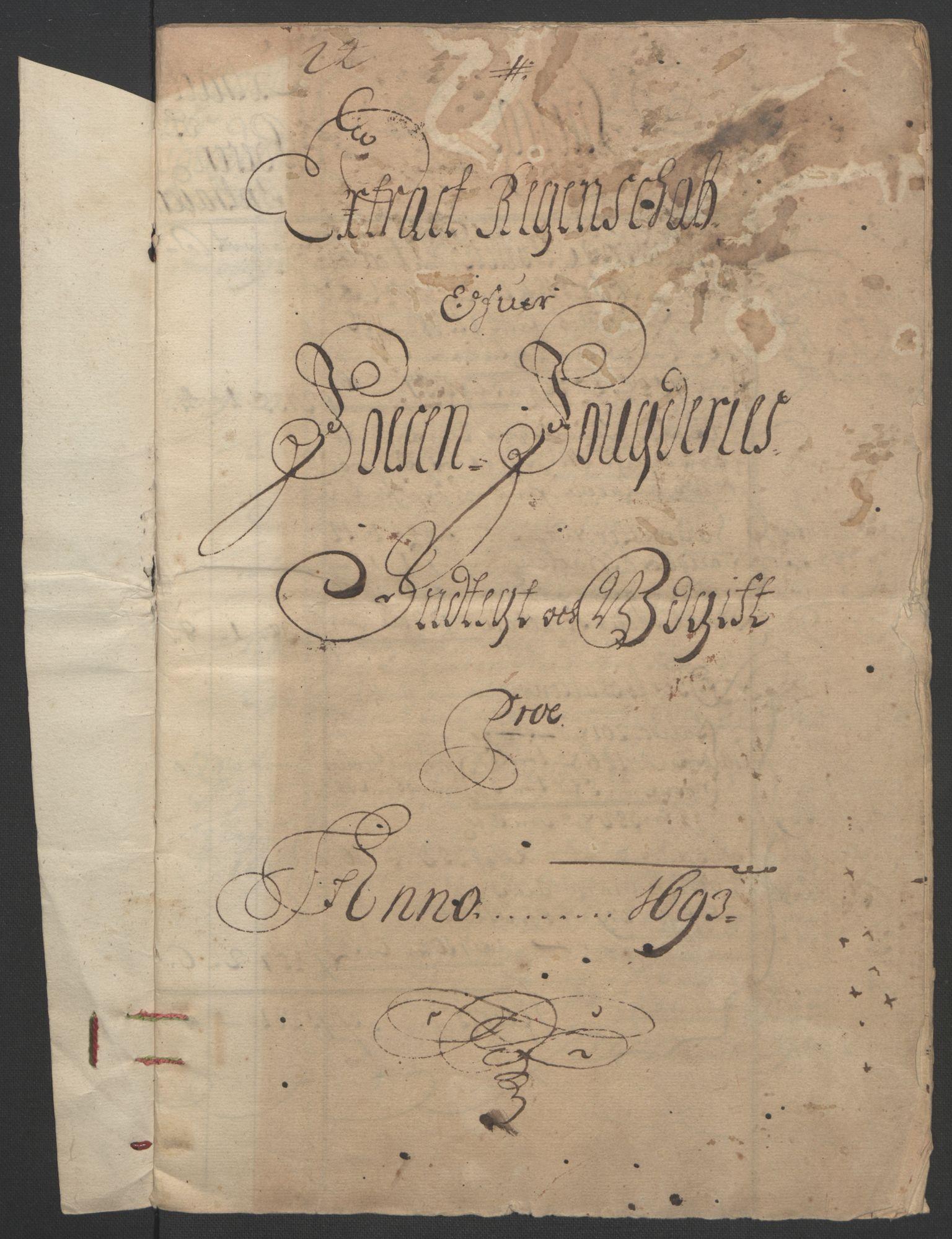 RA, Rentekammeret inntil 1814, Reviderte regnskaper, Fogderegnskap, R57/L3849: Fogderegnskap Fosen, 1692-1693, s. 372