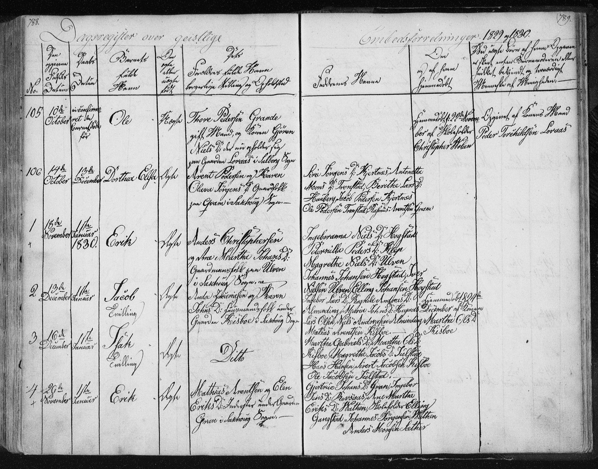 SAT, Ministerialprotokoller, klokkerbøker og fødselsregistre - Nord-Trøndelag, 730/L0276: Ministerialbok nr. 730A05, 1822-1830, s. 788-789