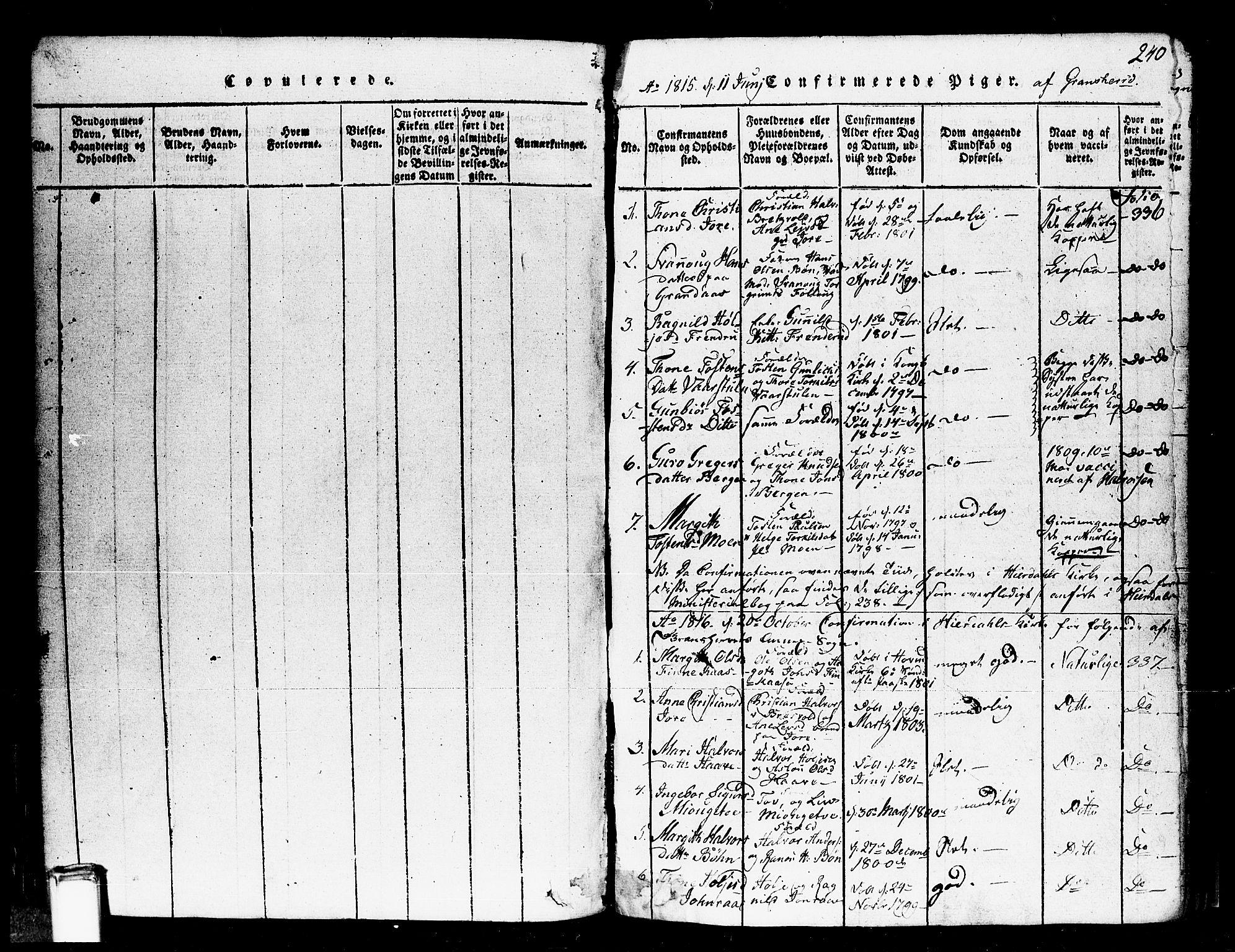 SAKO, Gransherad kirkebøker, F/Fa/L0001: Ministerialbok nr. I 1, 1815-1843, s. 240