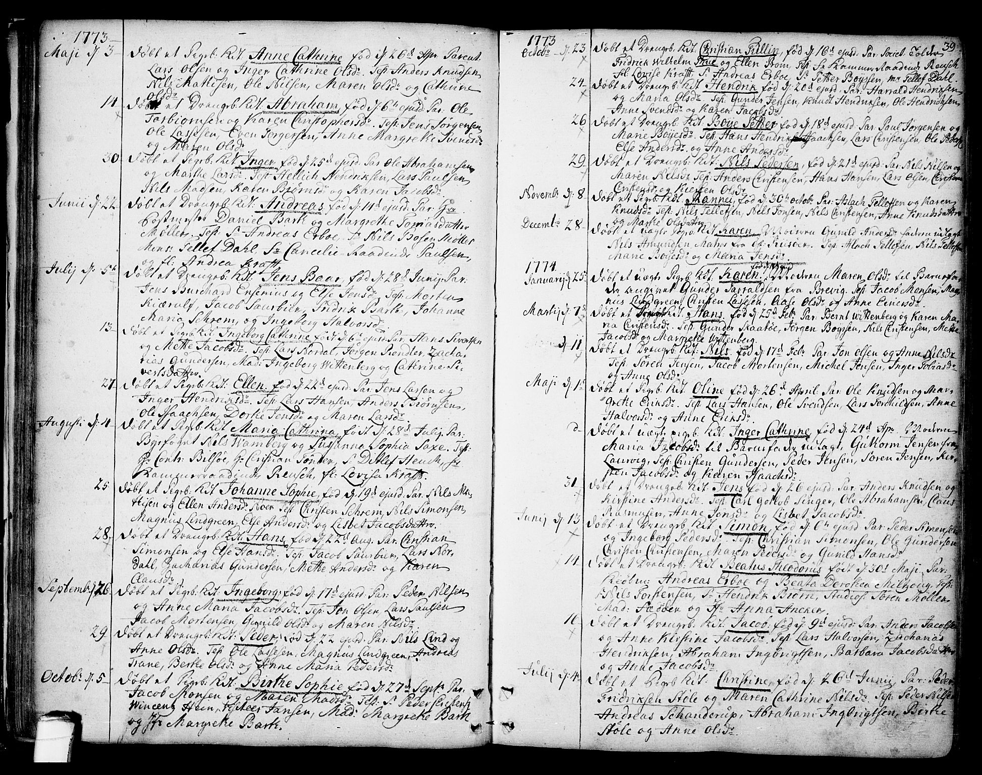 SAKO, Kragerø kirkebøker, F/Fa/L0002: Ministerialbok nr. 2, 1767-1802, s. 39