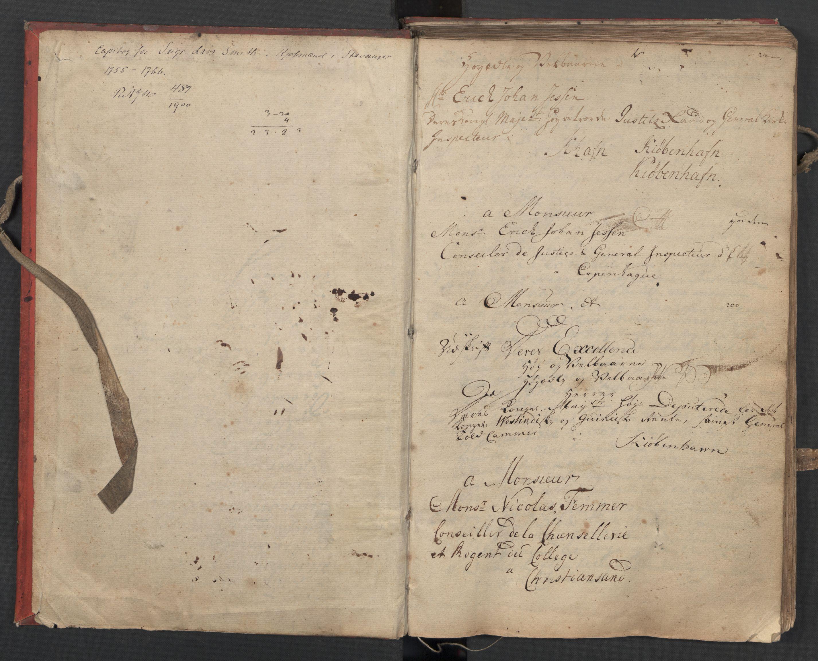 SAST, Pa 0119 - Smith, Lauritz Andersen og Lauritz Lauritzen, O/L0002: Kopibok, 1755-1766, s. 2