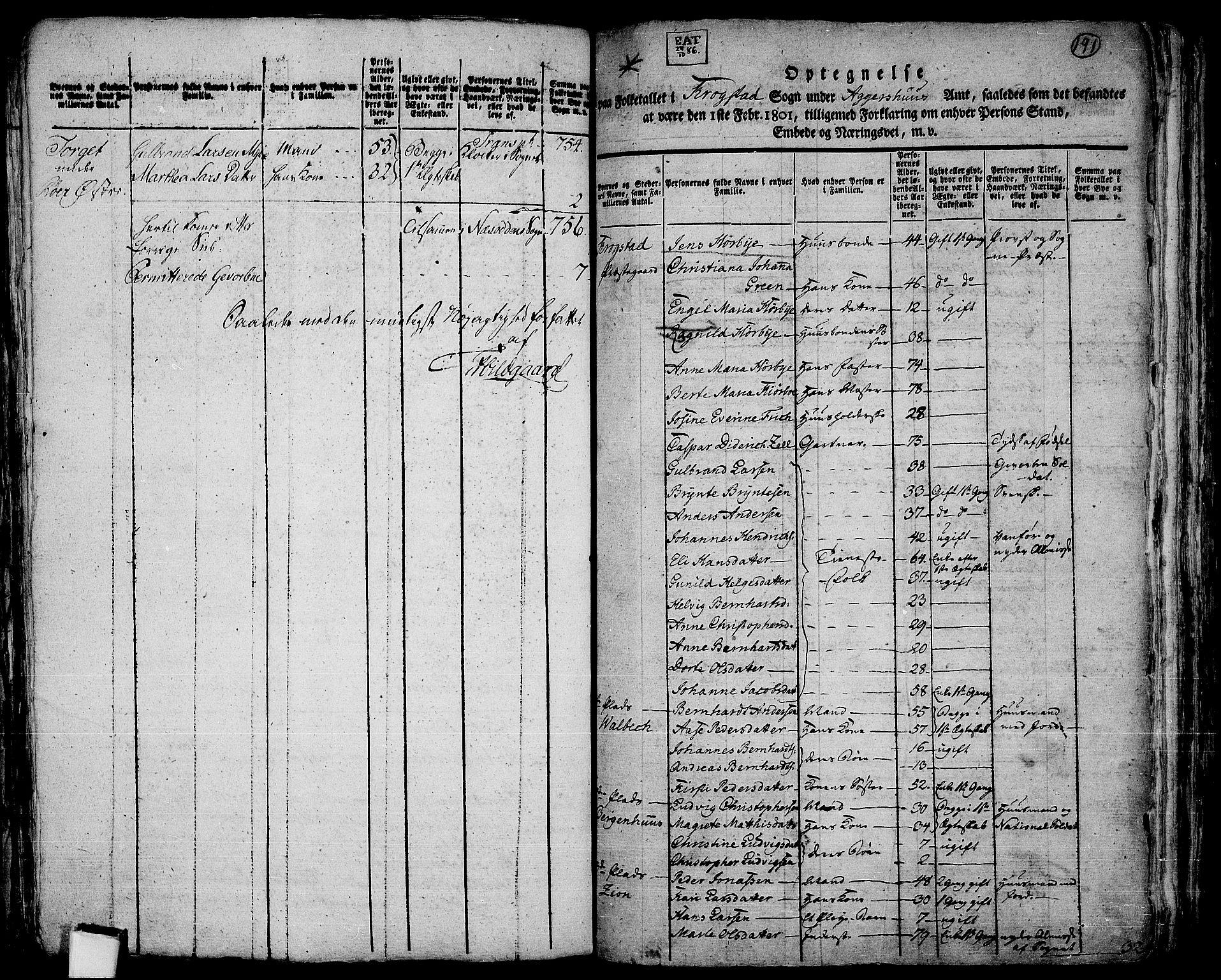 RA, Folketelling 1801 for 0212P Kråkstad prestegjeld, 1801, s. 190b-191a