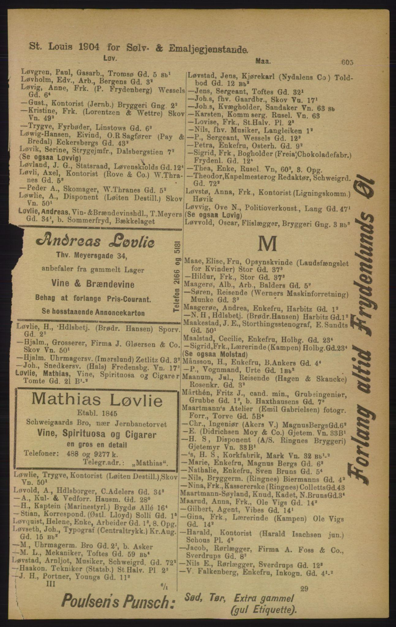 PUBL, Kristiania/Oslo adressebok, 1906, s. 605