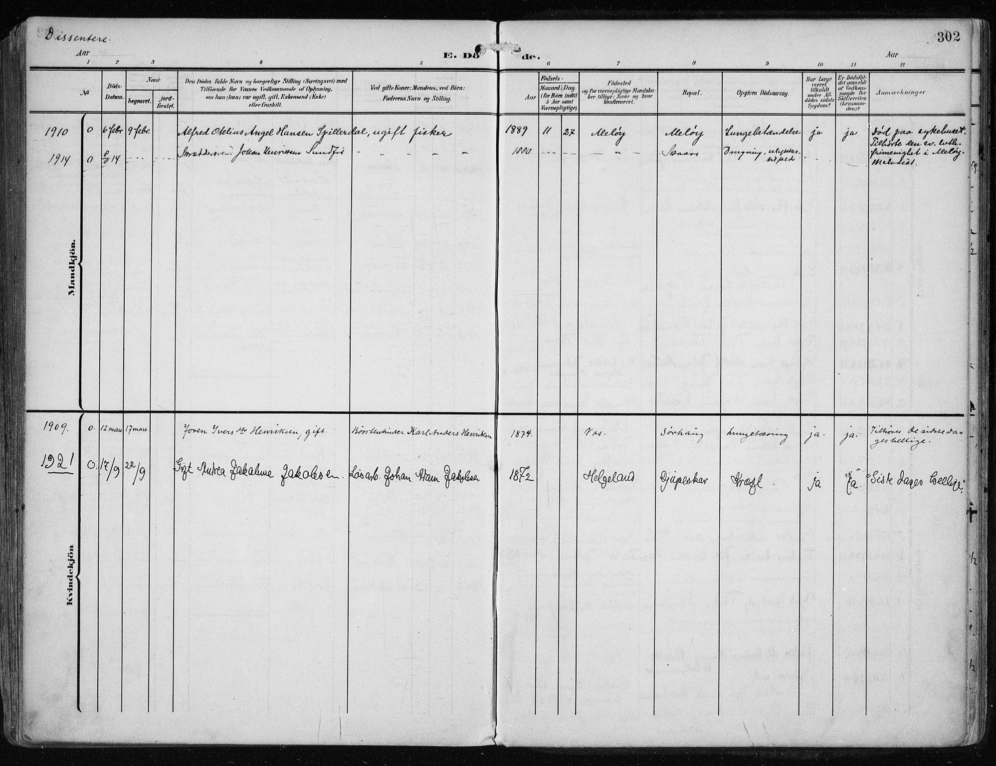 SAST, Haugesund sokneprestkontor, H/Ha/Haa/L0010: Ministerialbok nr. A 10, 1909-1935, s. 302