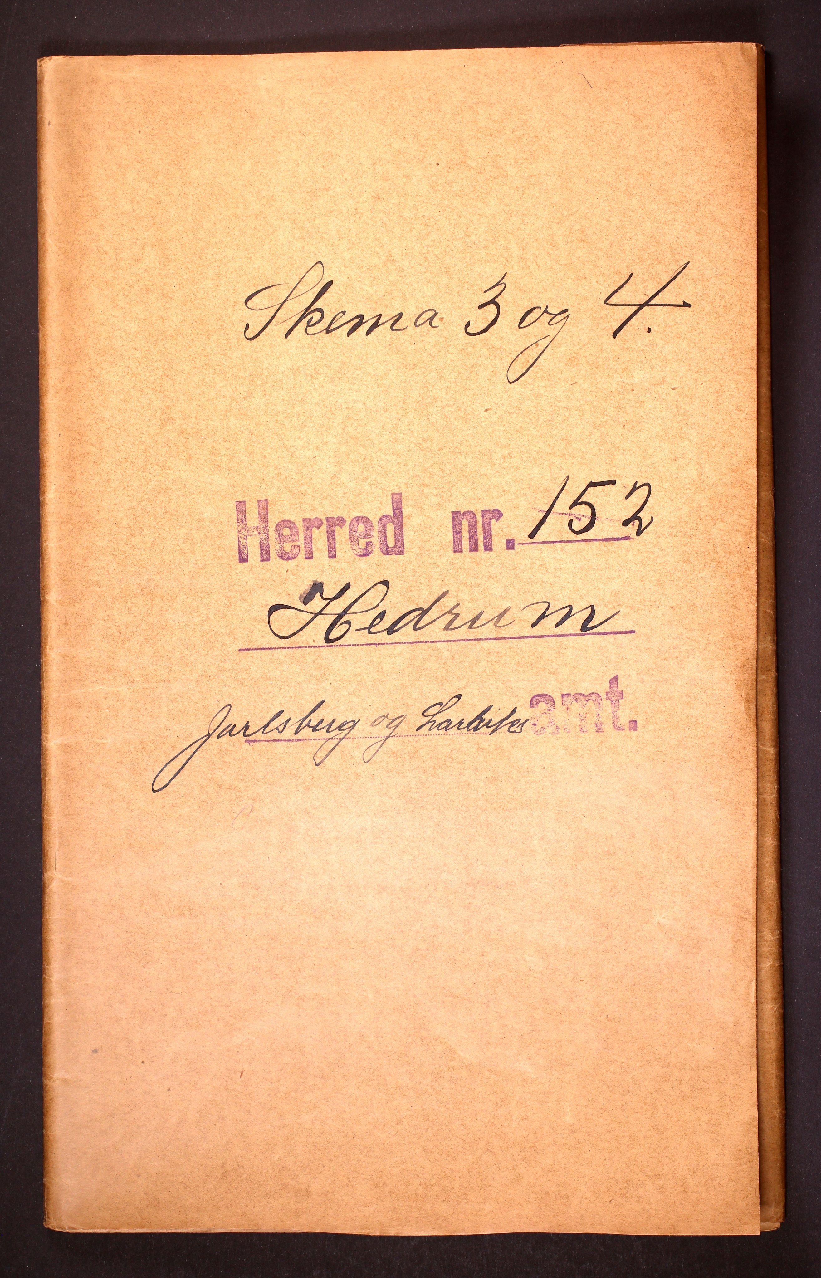 RA, Folketelling 1910 for 0727 Hedrum herred, 1910, s. 1