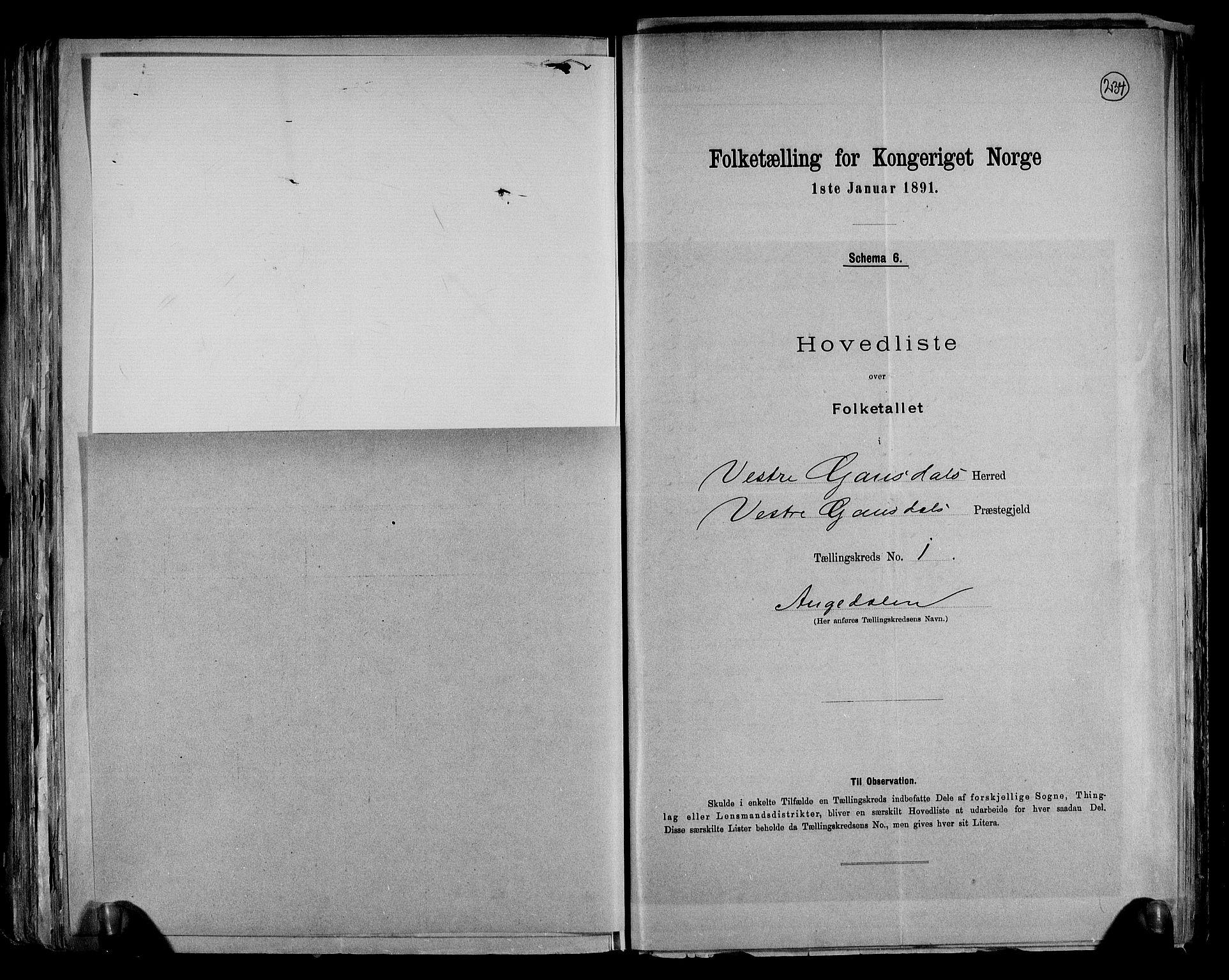 RA, Folketelling 1891 for 0523 Vestre Gausdal herred, 1891, s. 6