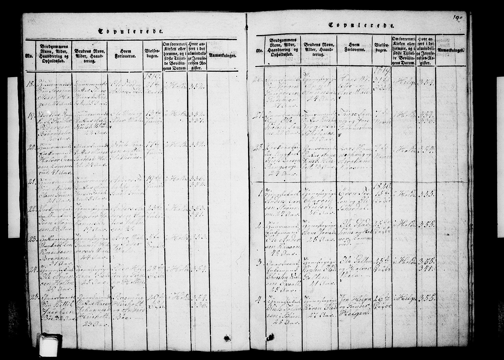 SAKO, Holla kirkebøker, G/Ga/L0001: Klokkerbok nr. I 1, 1814-1830, s. 199