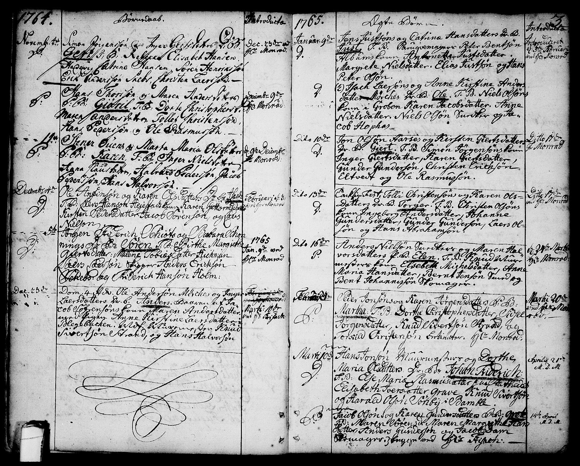 SAKO, Brevik kirkebøker, F/Fa/L0003: Ministerialbok nr. 3, 1764-1814, s. 3