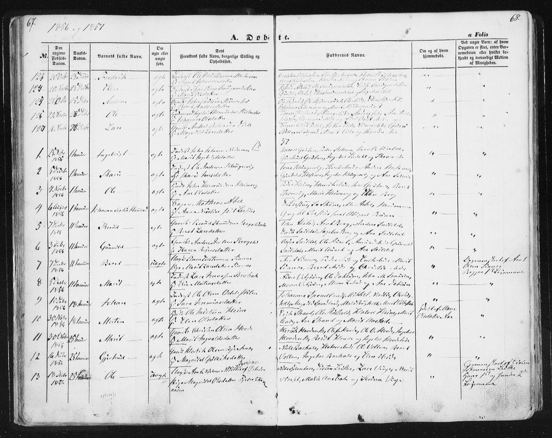 SAT, Ministerialprotokoller, klokkerbøker og fødselsregistre - Sør-Trøndelag, 630/L0494: Ministerialbok nr. 630A07, 1852-1868, s. 67-68