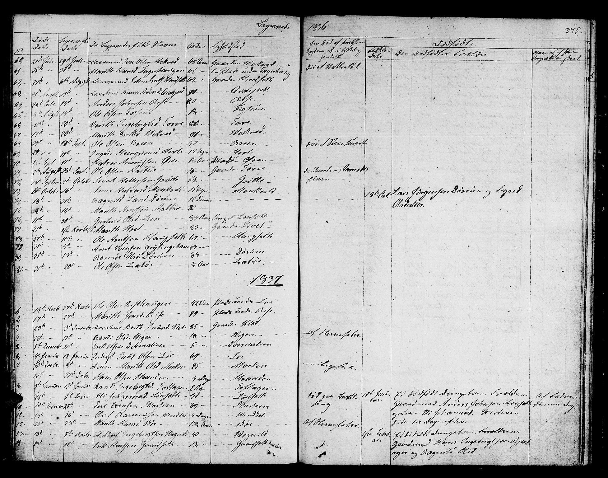 SAT, Ministerialprotokoller, klokkerbøker og fødselsregistre - Sør-Trøndelag, 678/L0897: Ministerialbok nr. 678A06-07, 1821-1847, s. 375