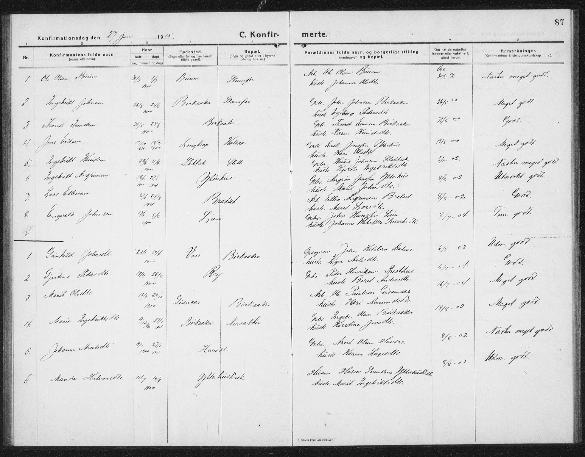 SAT, Ministerialprotokoller, klokkerbøker og fødselsregistre - Sør-Trøndelag, 675/L0888: Klokkerbok nr. 675C01, 1913-1935, s. 87