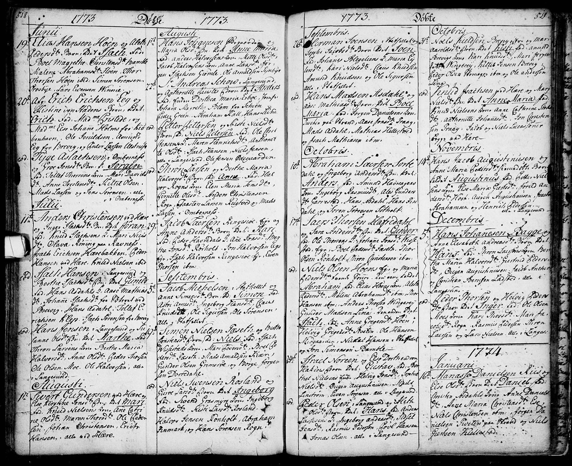 SAKO, Bamble kirkebøker, F/Fa/L0001: Ministerialbok nr. I 1, 1702-1774, s. 518-519