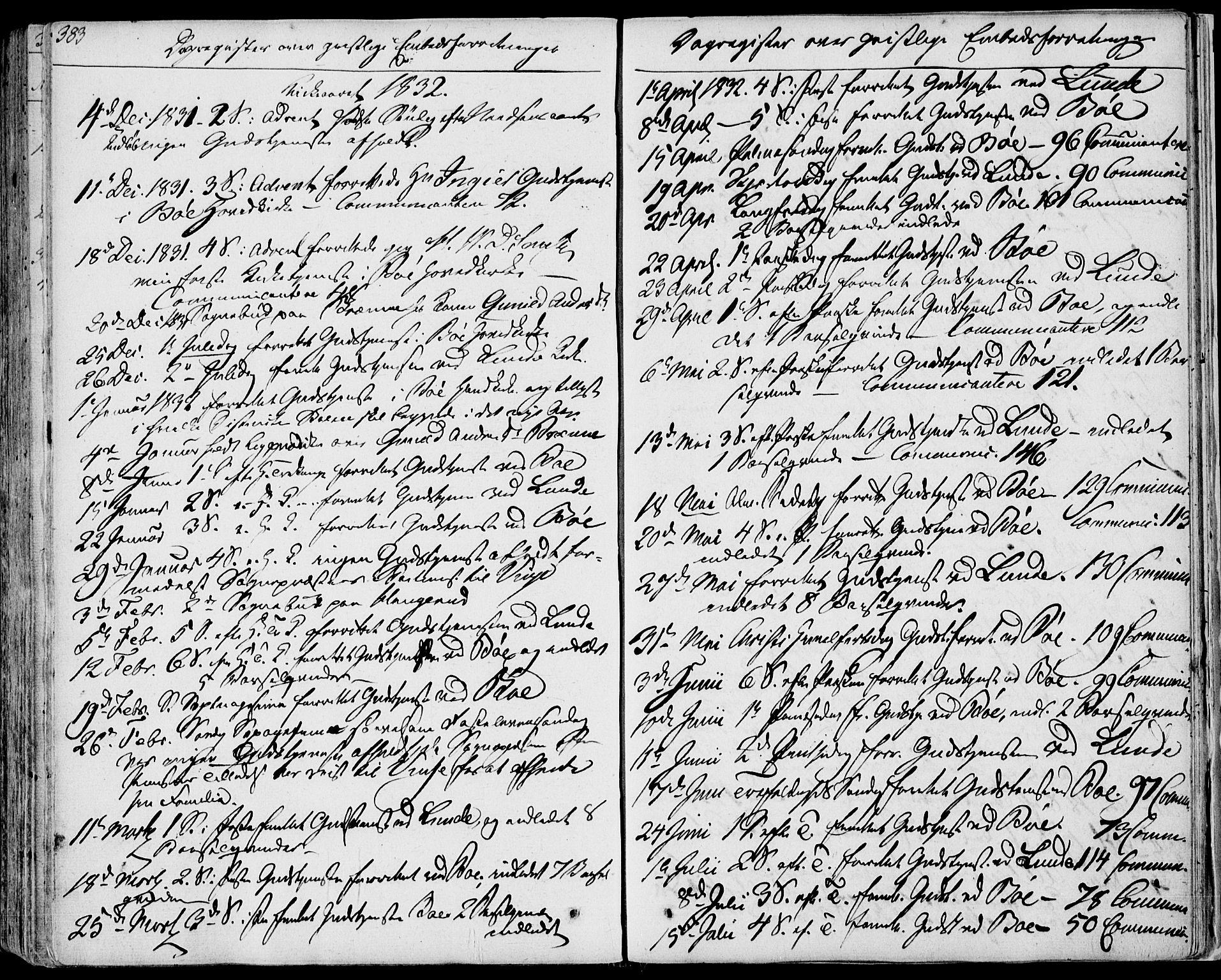 SAKO, Bø kirkebøker, F/Fa/L0007: Ministerialbok nr. 7, 1831-1848, s. 383