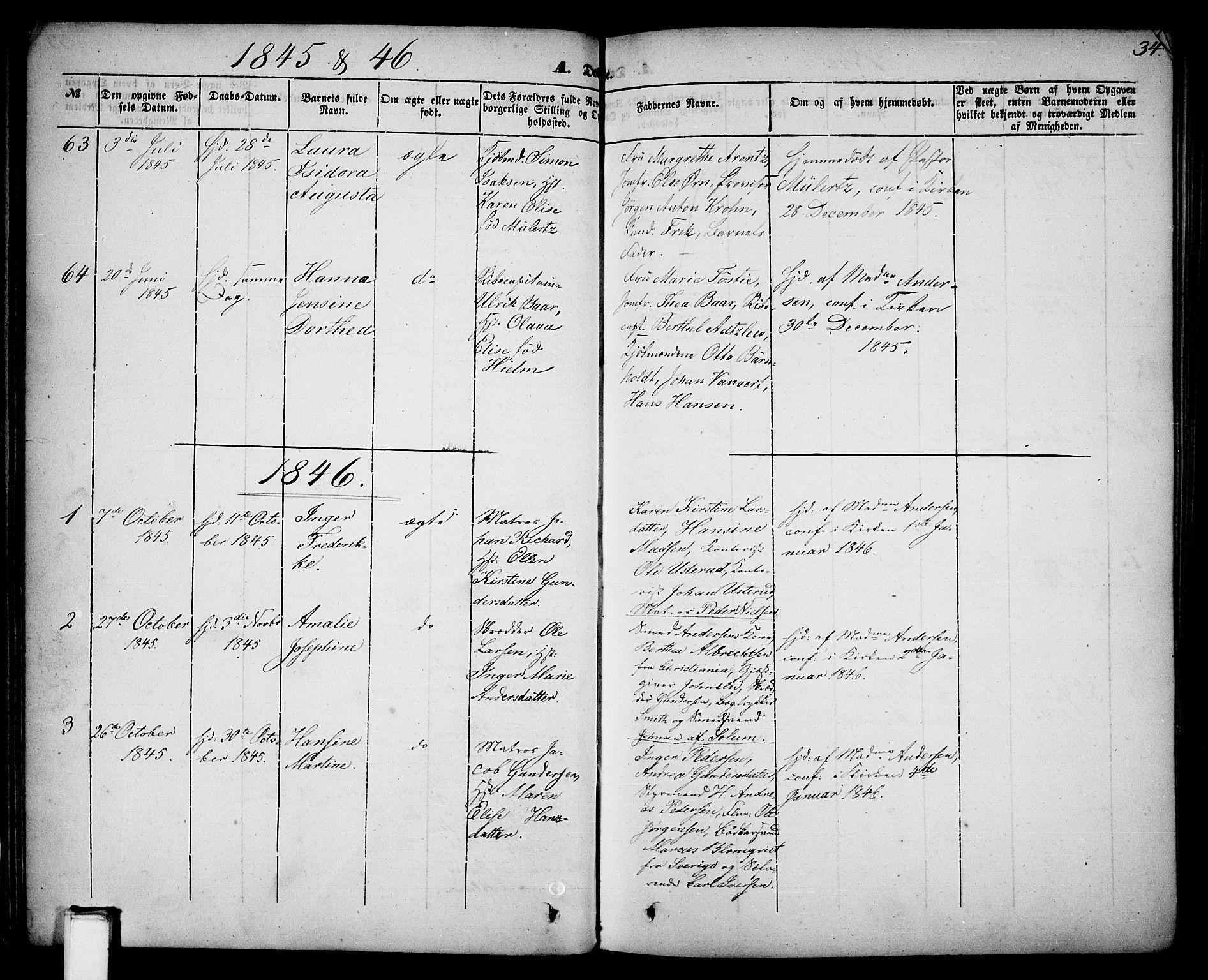 SAKO, Skien kirkebøker, G/Ga/L0004: Klokkerbok nr. 4, 1843-1867, s. 34