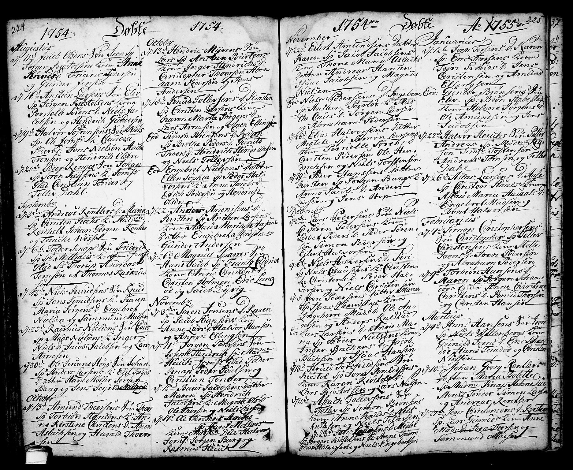 SAKO, Kragerø kirkebøker, F/Fa/L0001: Ministerialbok nr. 1, 1702-1766, s. 224-225
