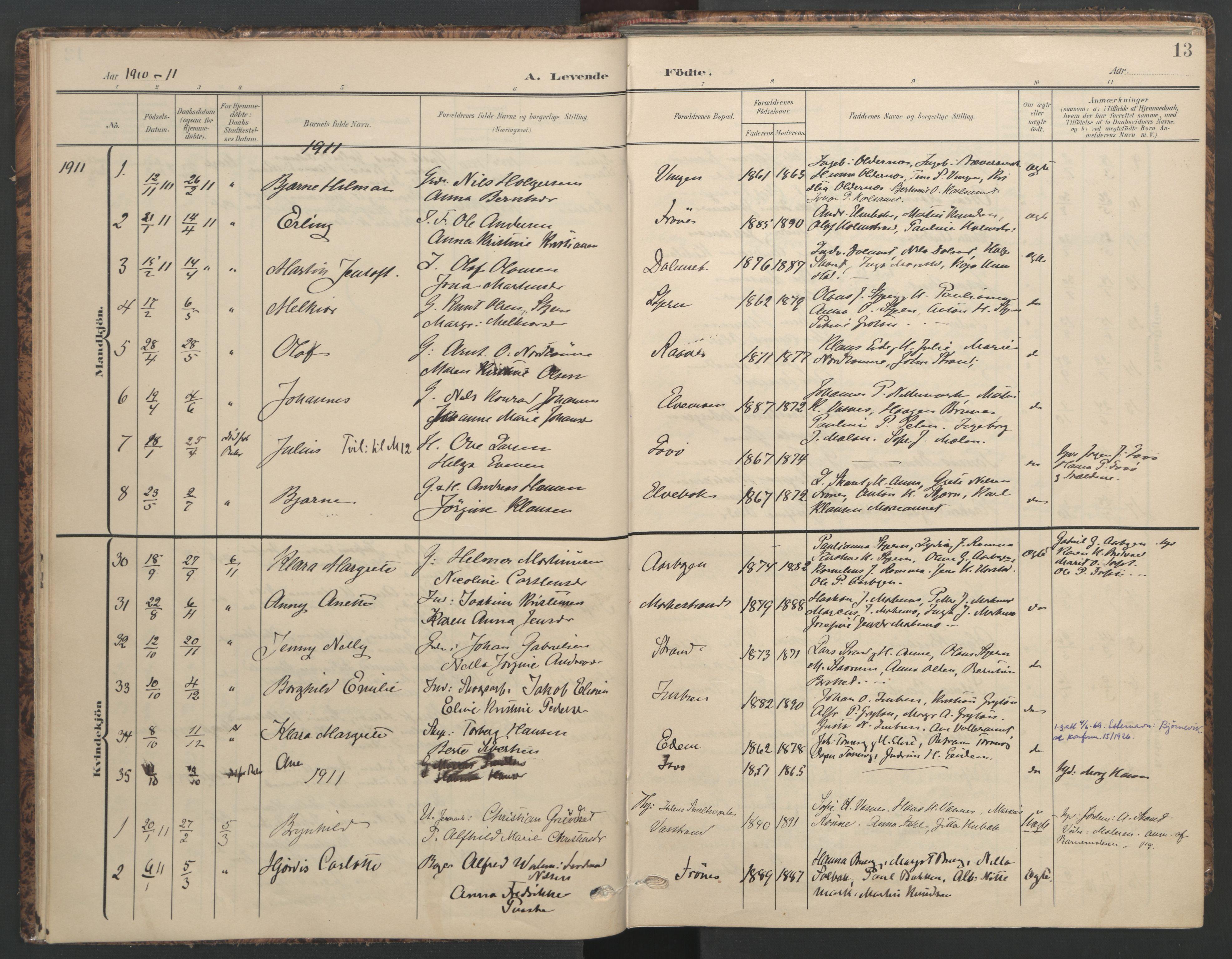 SAT, Ministerialprotokoller, klokkerbøker og fødselsregistre - Sør-Trøndelag, 655/L0682: Ministerialbok nr. 655A11, 1908-1922, s. 13