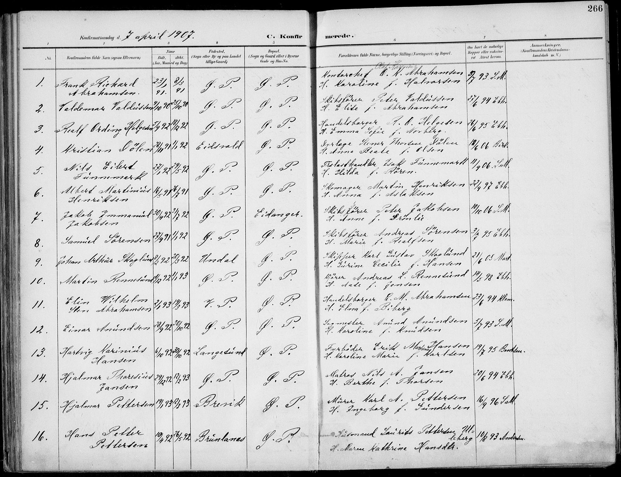 SAKO, Porsgrunn kirkebøker , F/Fa/L0011: Ministerialbok nr. 11, 1895-1919, s. 266