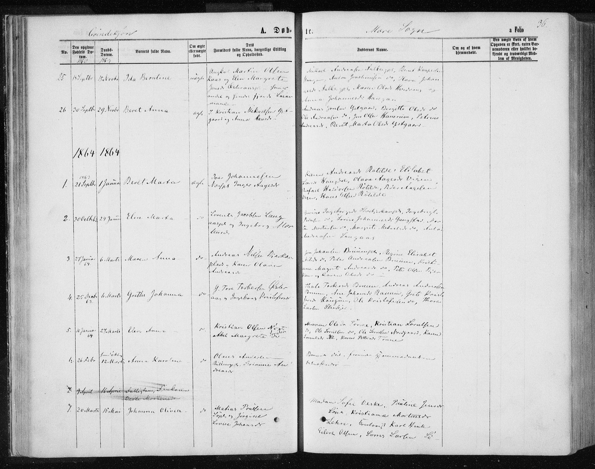 SAT, Ministerialprotokoller, klokkerbøker og fødselsregistre - Nord-Trøndelag, 735/L0345: Ministerialbok nr. 735A08 /1, 1863-1872, s. 36