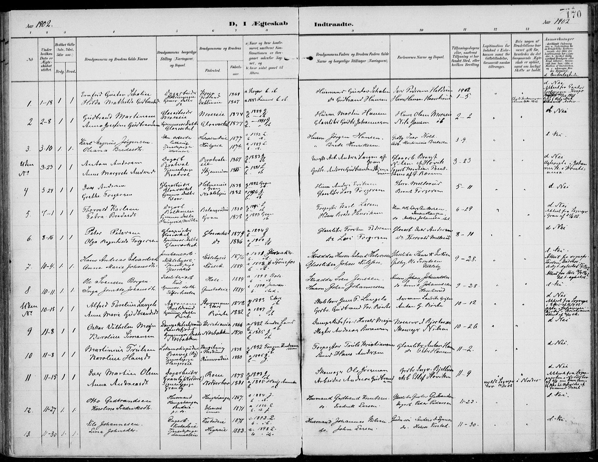 SAH, Jevnaker prestekontor, Ministerialbok nr. 11, 1902-1913, s. 170