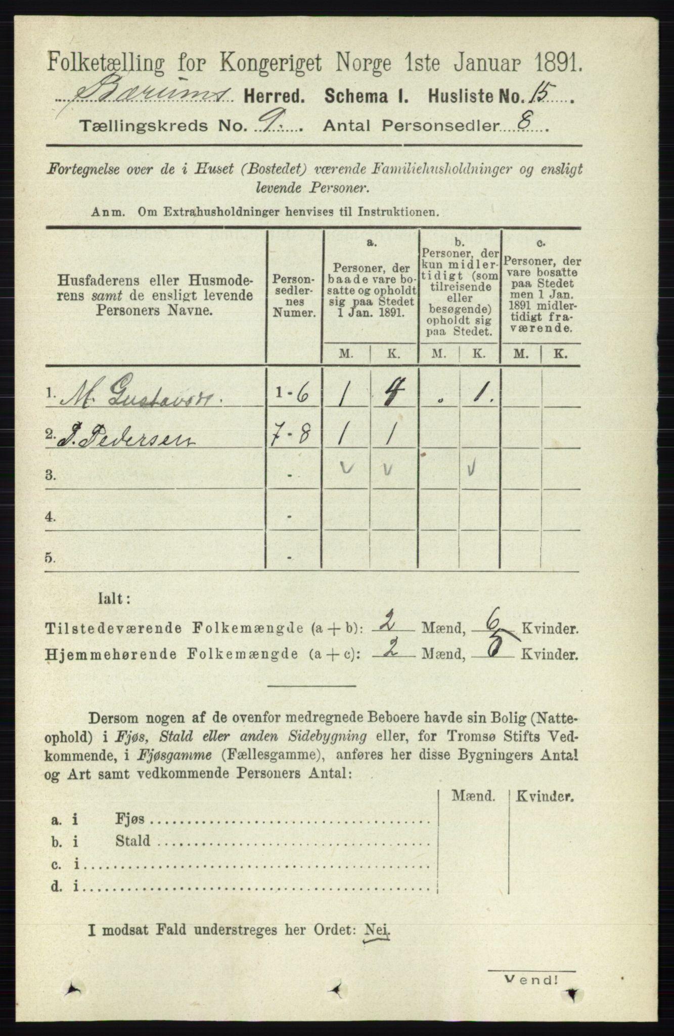 RA, Folketelling 1891 for 0219 Bærum herred, 1891, s. 4995