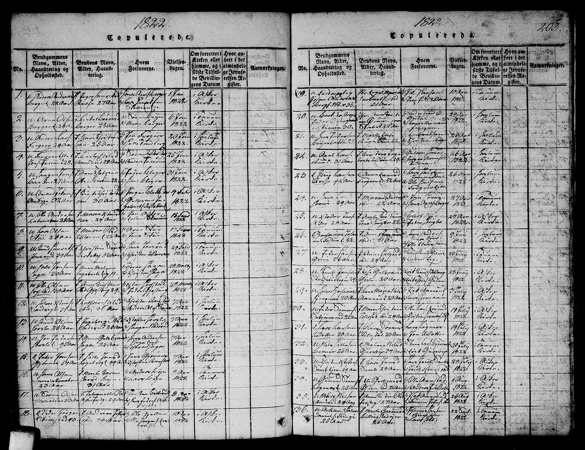SAO, Asker prestekontor Kirkebøker, G/Ga/L0001: Klokkerbok nr. I 1, 1814-1830, s. 203