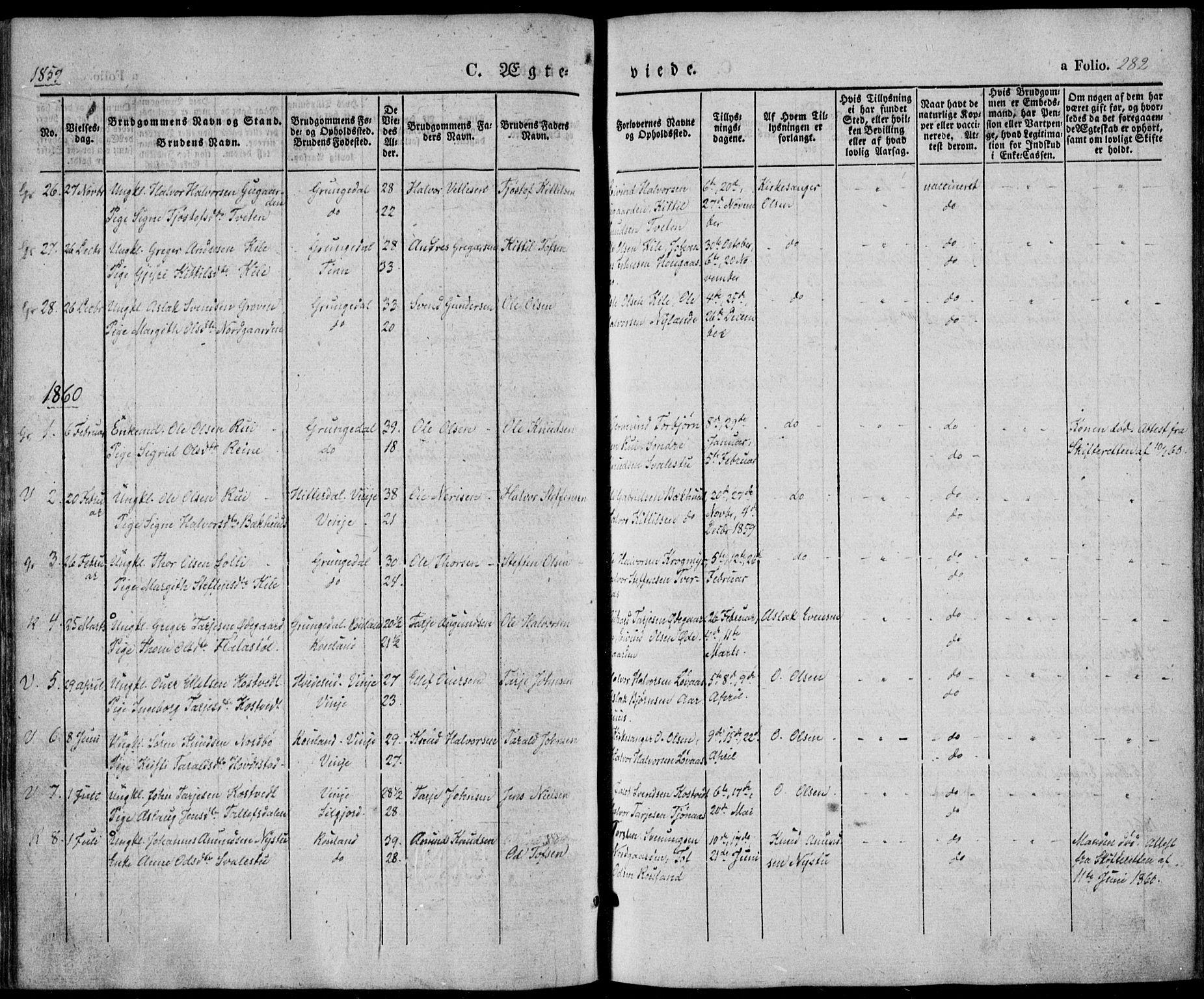 SAKO, Vinje kirkebøker, F/Fa/L0004: Ministerialbok nr. I 4, 1843-1869, s. 282