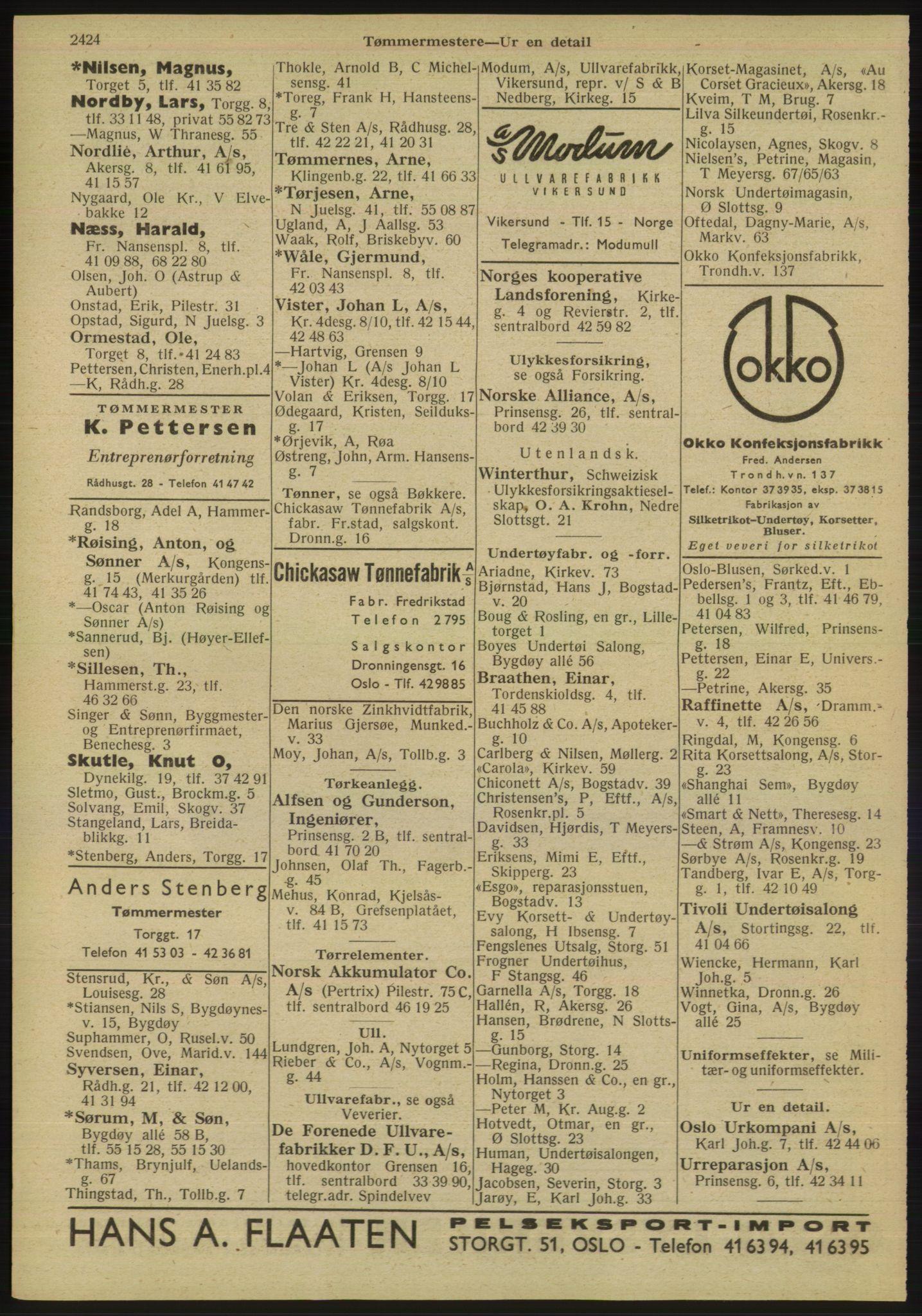 RA, Oslo adressebok (publikasjon)*, 1947, s. 2424