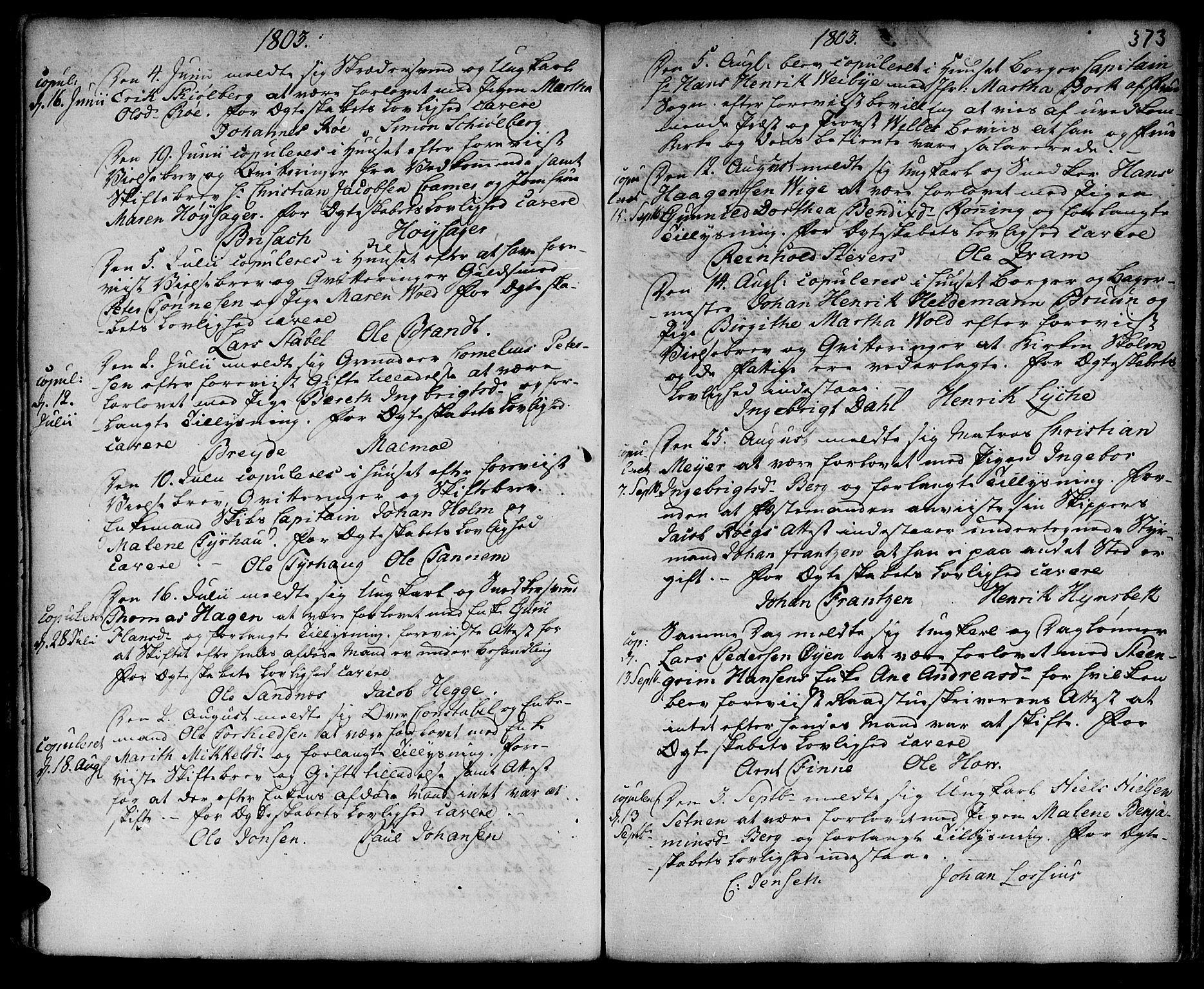 SAT, Ministerialprotokoller, klokkerbøker og fødselsregistre - Sør-Trøndelag, 601/L0038: Ministerialbok nr. 601A06, 1766-1877, s. 373