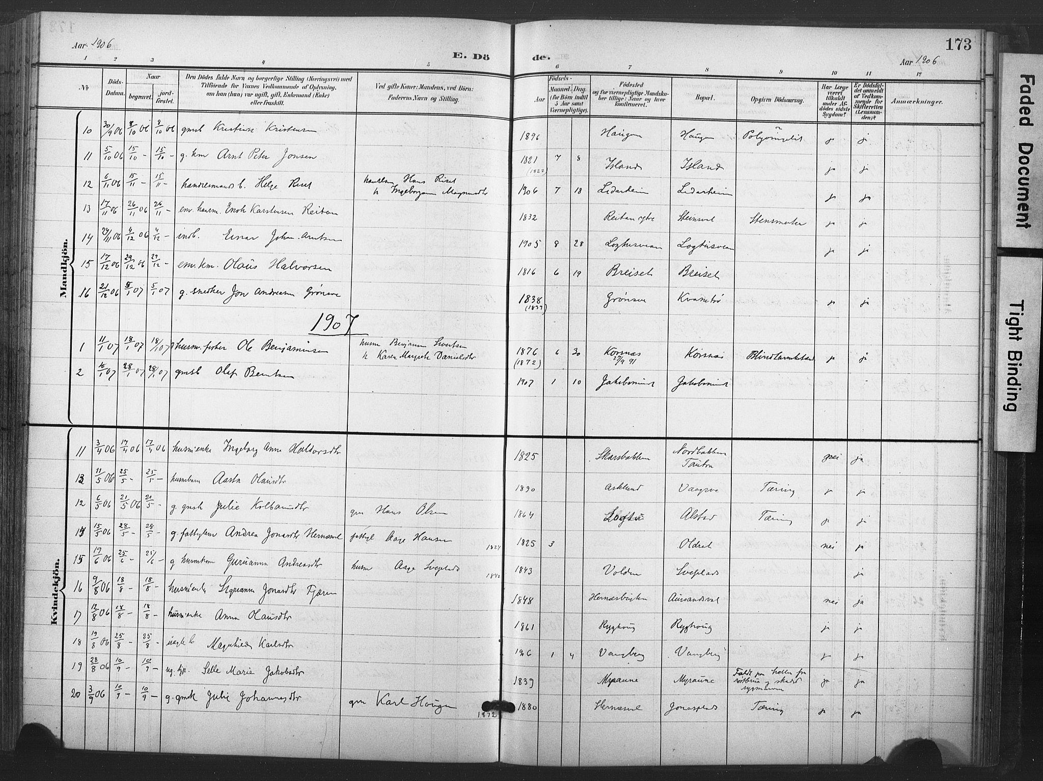 SAT, Ministerialprotokoller, klokkerbøker og fødselsregistre - Nord-Trøndelag, 713/L0122: Ministerialbok nr. 713A11, 1899-1910, s. 173
