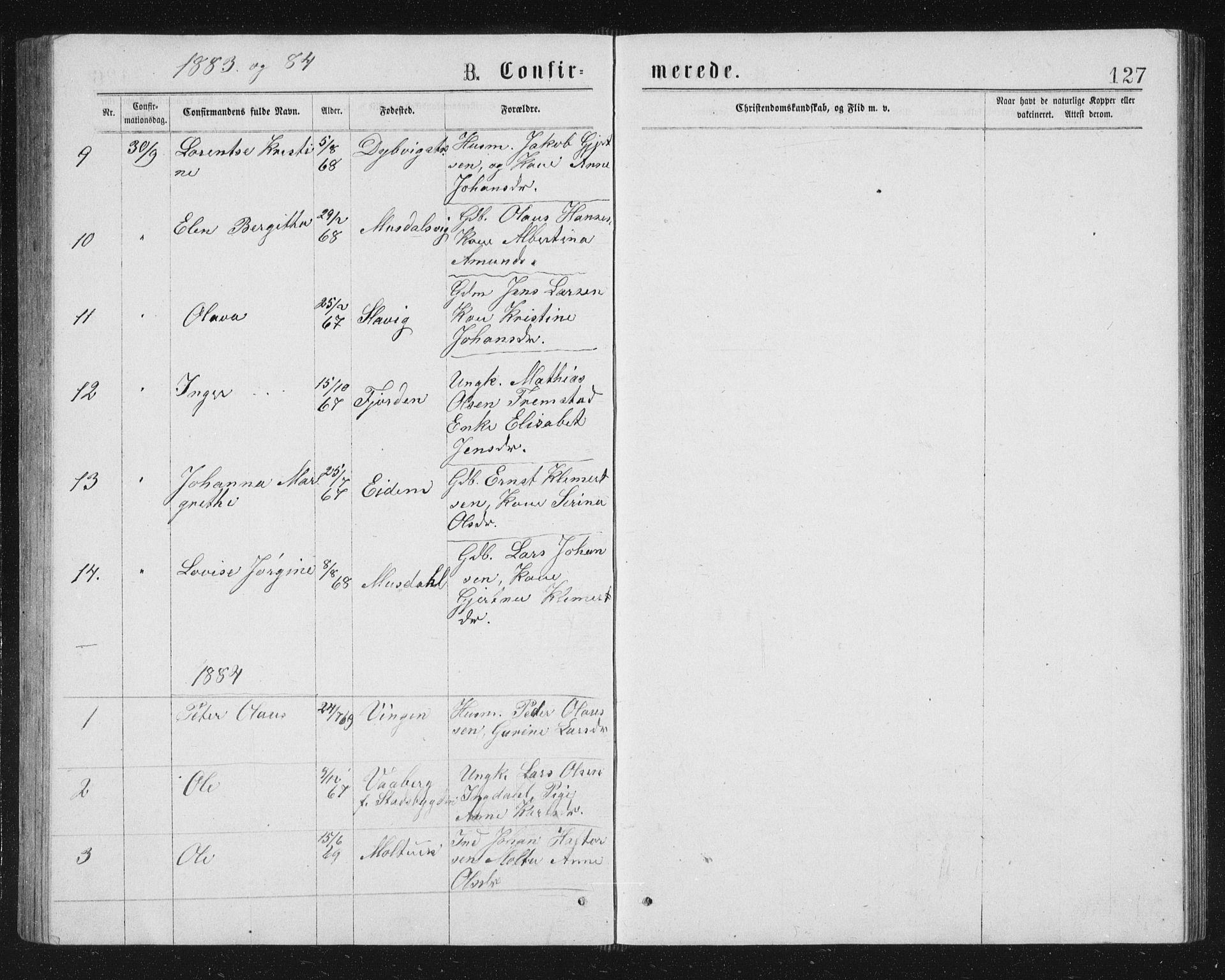 SAT, Ministerialprotokoller, klokkerbøker og fødselsregistre - Sør-Trøndelag, 662/L0756: Klokkerbok nr. 662C01, 1869-1891, s. 127