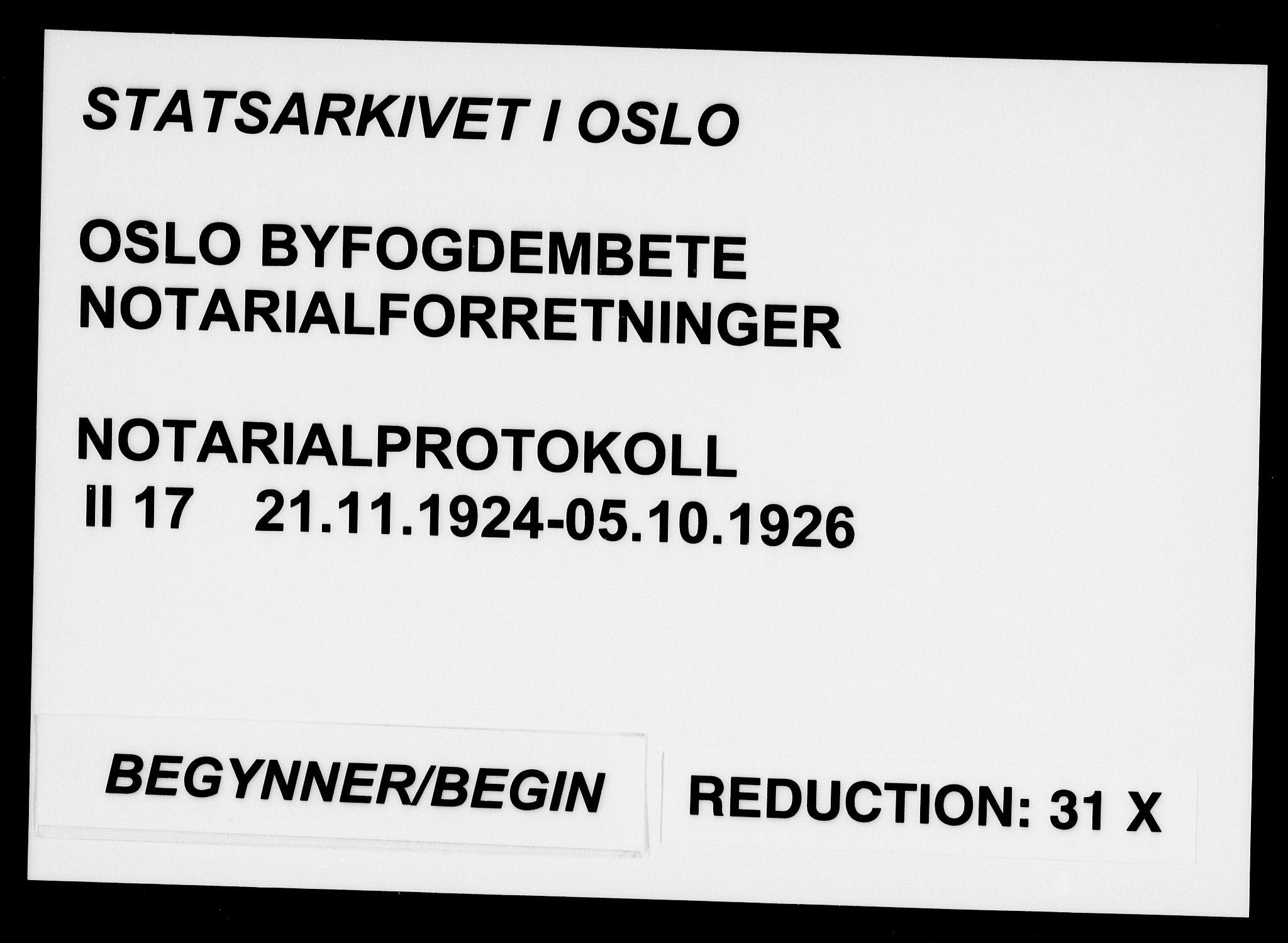 SAO, Oslo byfogd avd. I, L/Lb/Lbb/L0017: Notarialprotokoll, rekke II: Vigsler, 1924-1926, s. upaginert