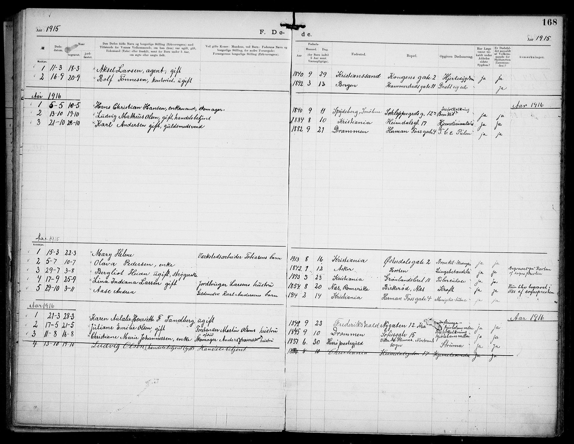 SAO, Den katolsk apostoliske menighet i Oslo , F/Fa/L0002: Dissenterprotokoll nr. 2, 1892-1937, s. 168