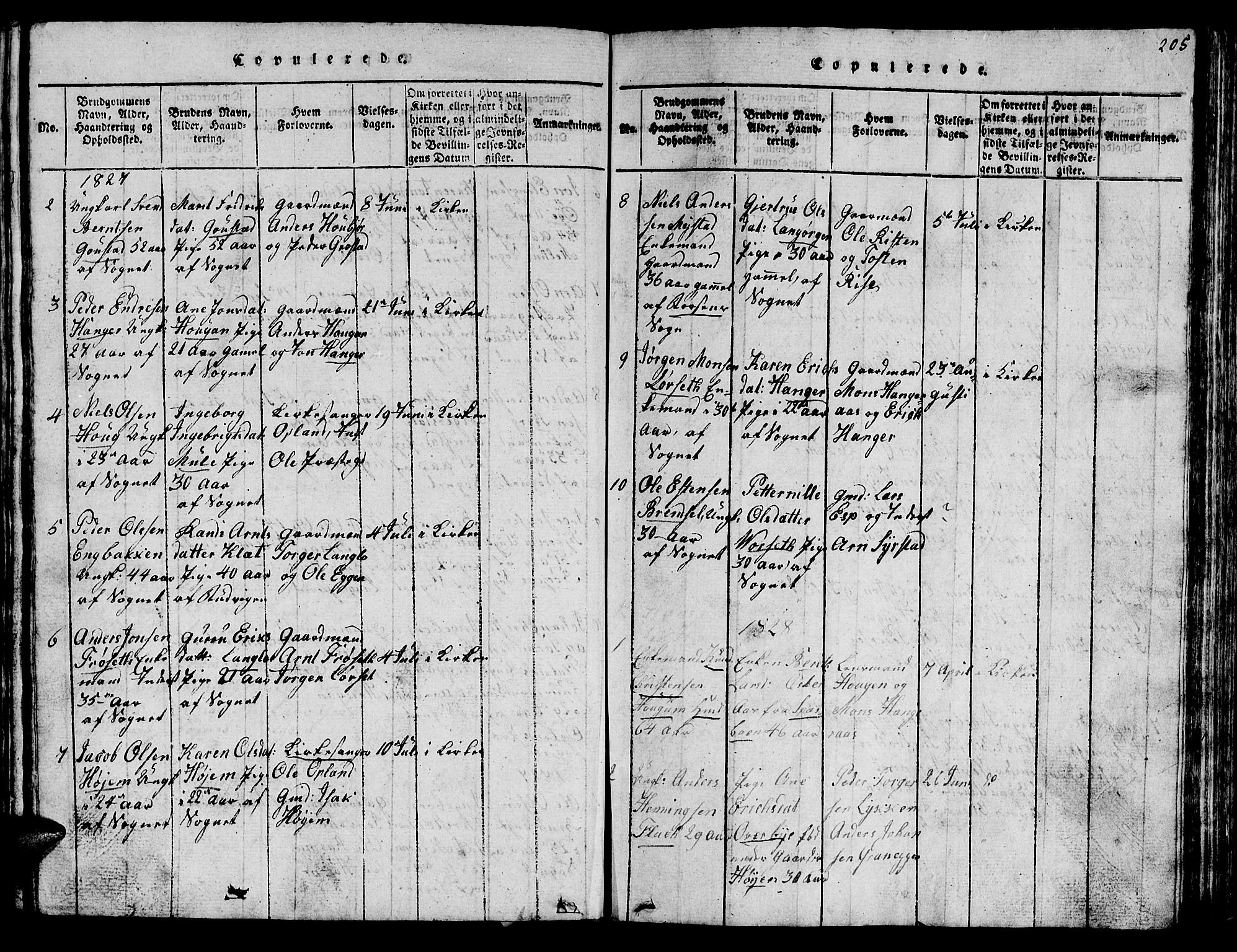 SAT, Ministerialprotokoller, klokkerbøker og fødselsregistre - Sør-Trøndelag, 612/L0385: Klokkerbok nr. 612C01, 1816-1845, s. 205