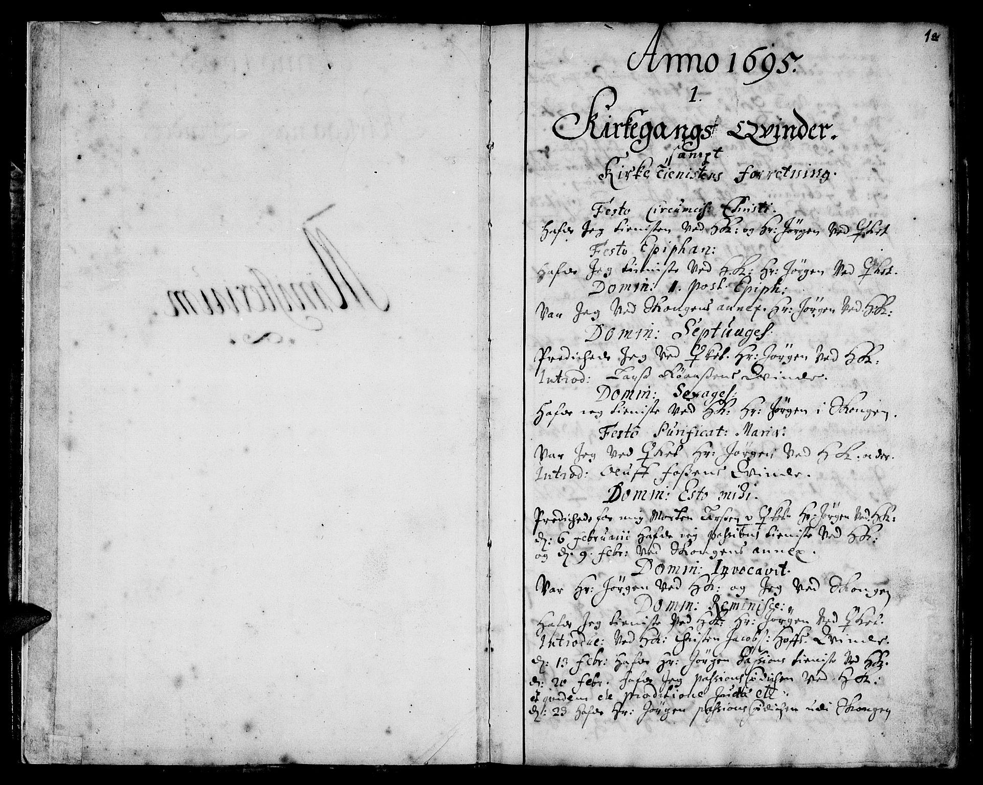 SAT, Ministerialprotokoller, klokkerbøker og fødselsregistre - Sør-Trøndelag, 668/L0801: Ministerialbok nr. 668A01, 1695-1716, s. 0-1